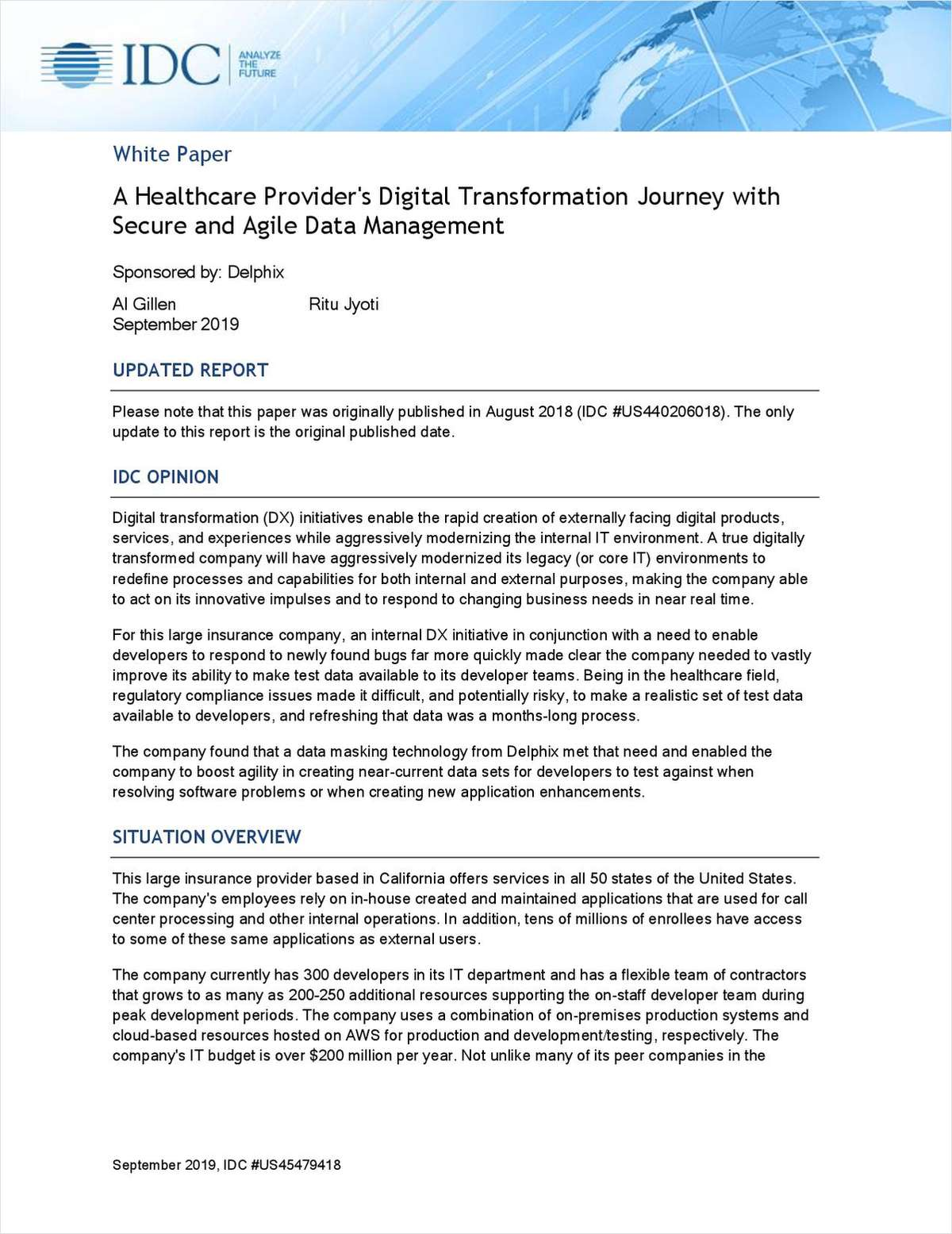 A Healthcare Provider's Digital Transformation Journey