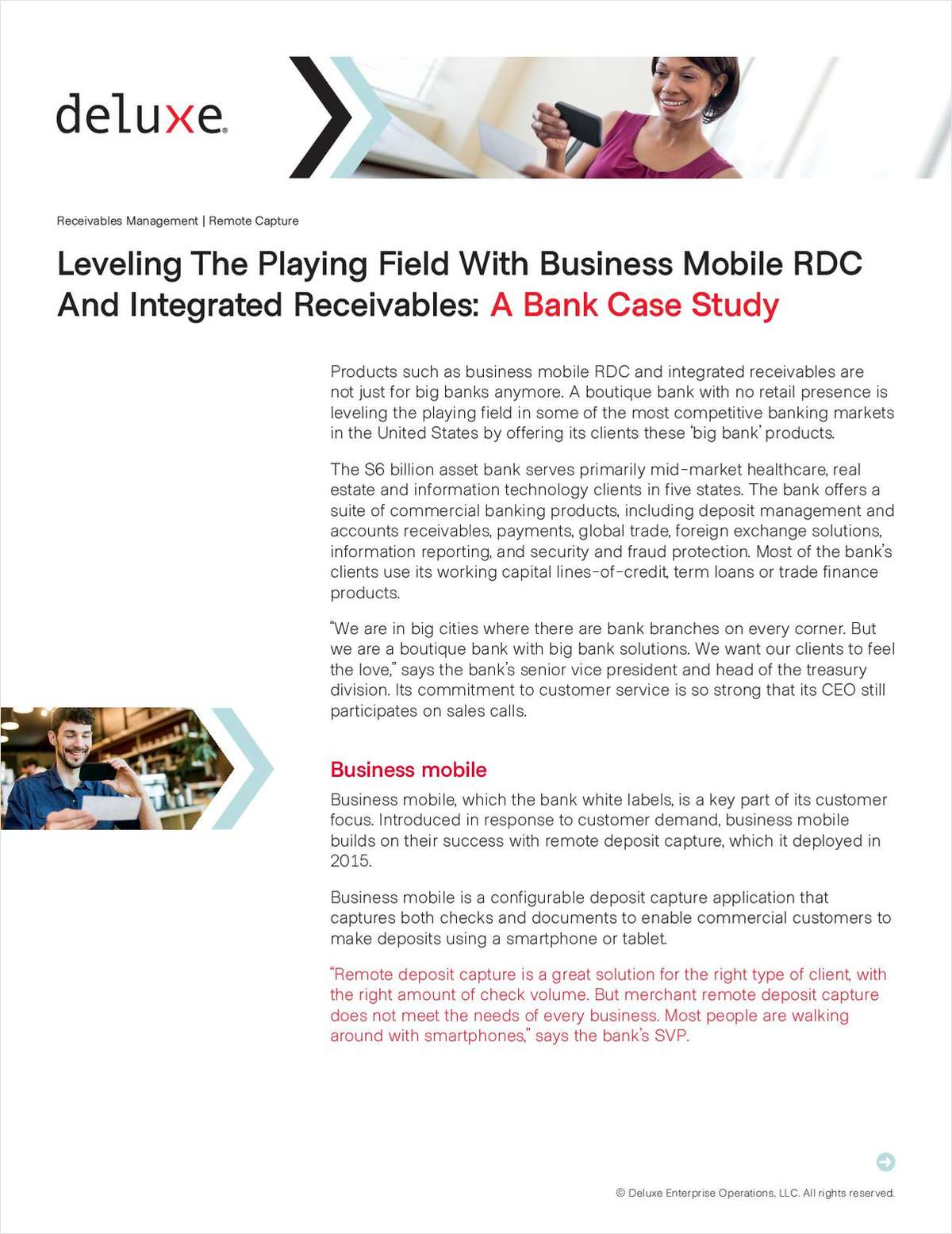 A Bank Case Study: Leveling the Playing Field with Business Mobile RDC and Integrated Receivables