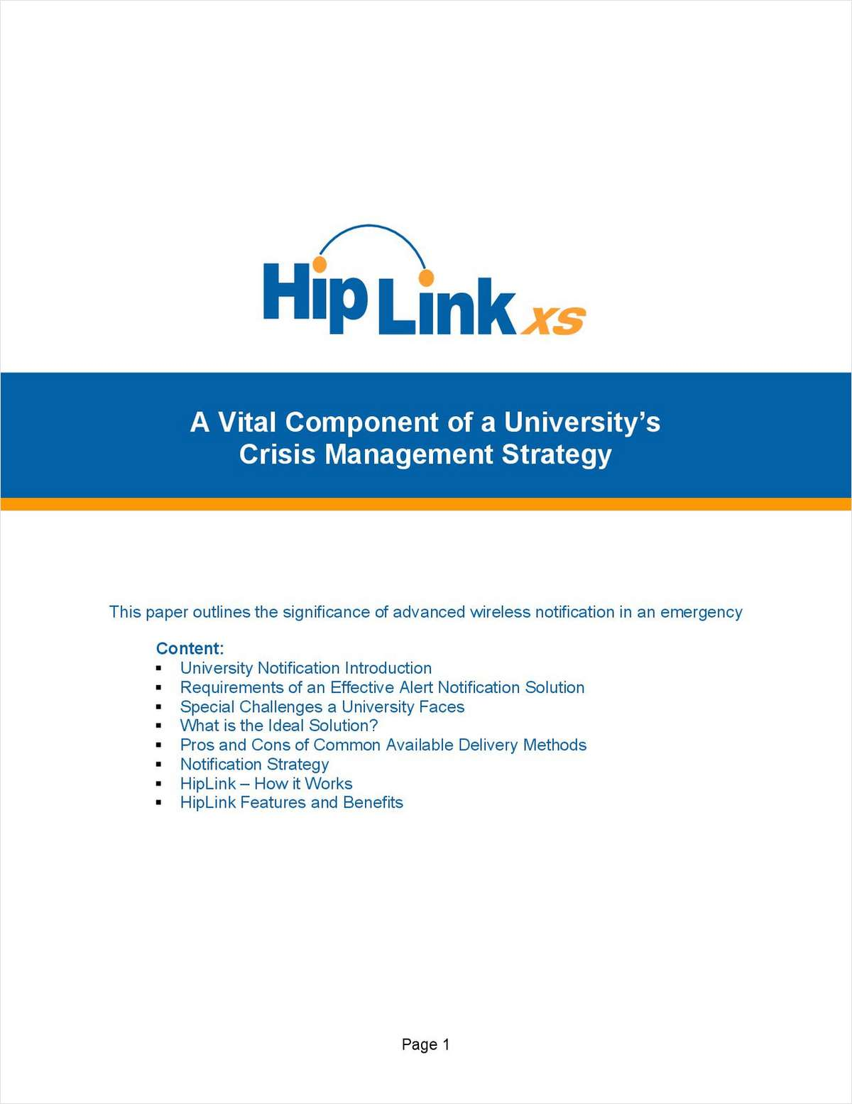 HipLinkXS® - A Vital Component of a University's Crisis Management Strategy