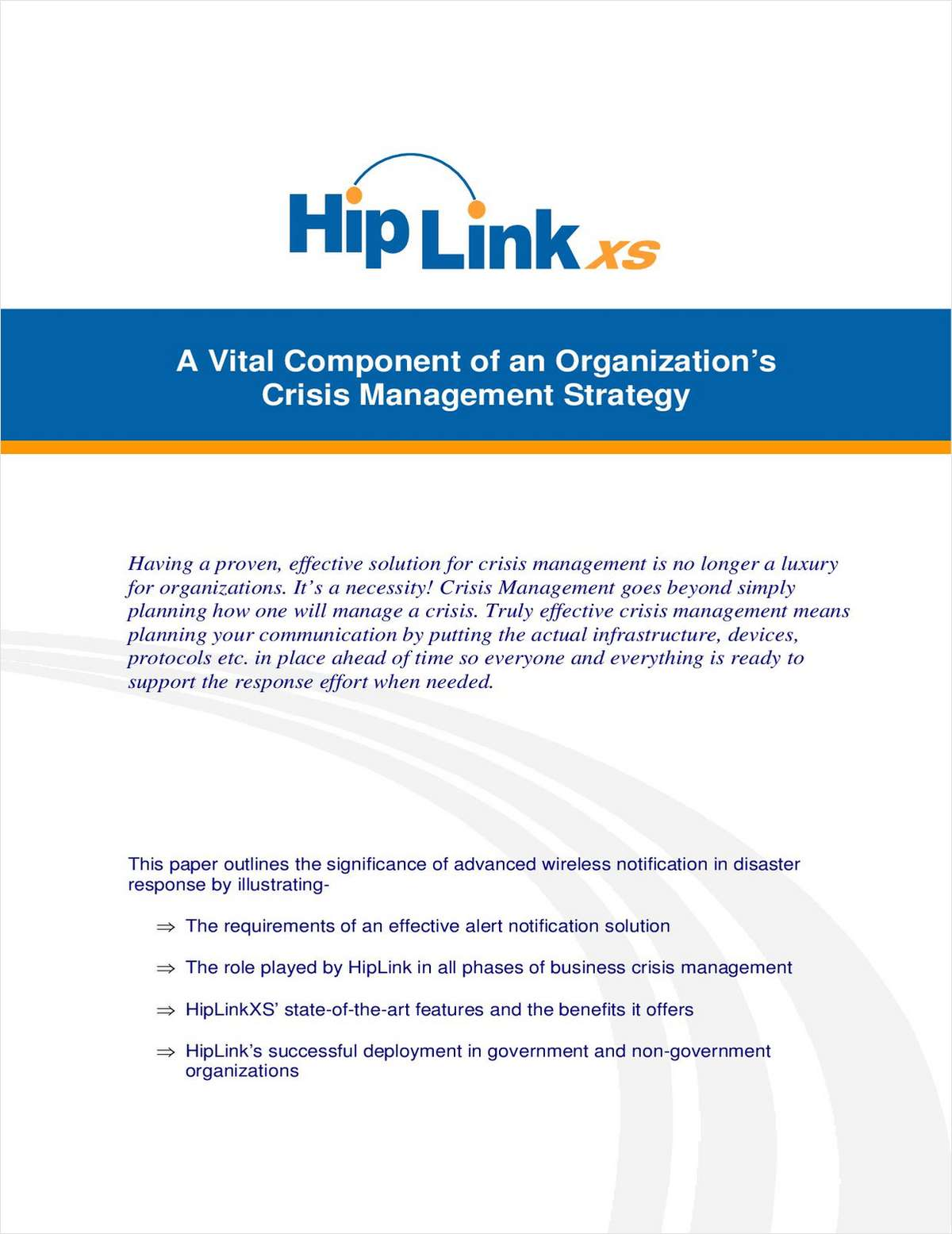 HipLinkXS® - A Vital Component of an Organization's Crisis Management Strategy