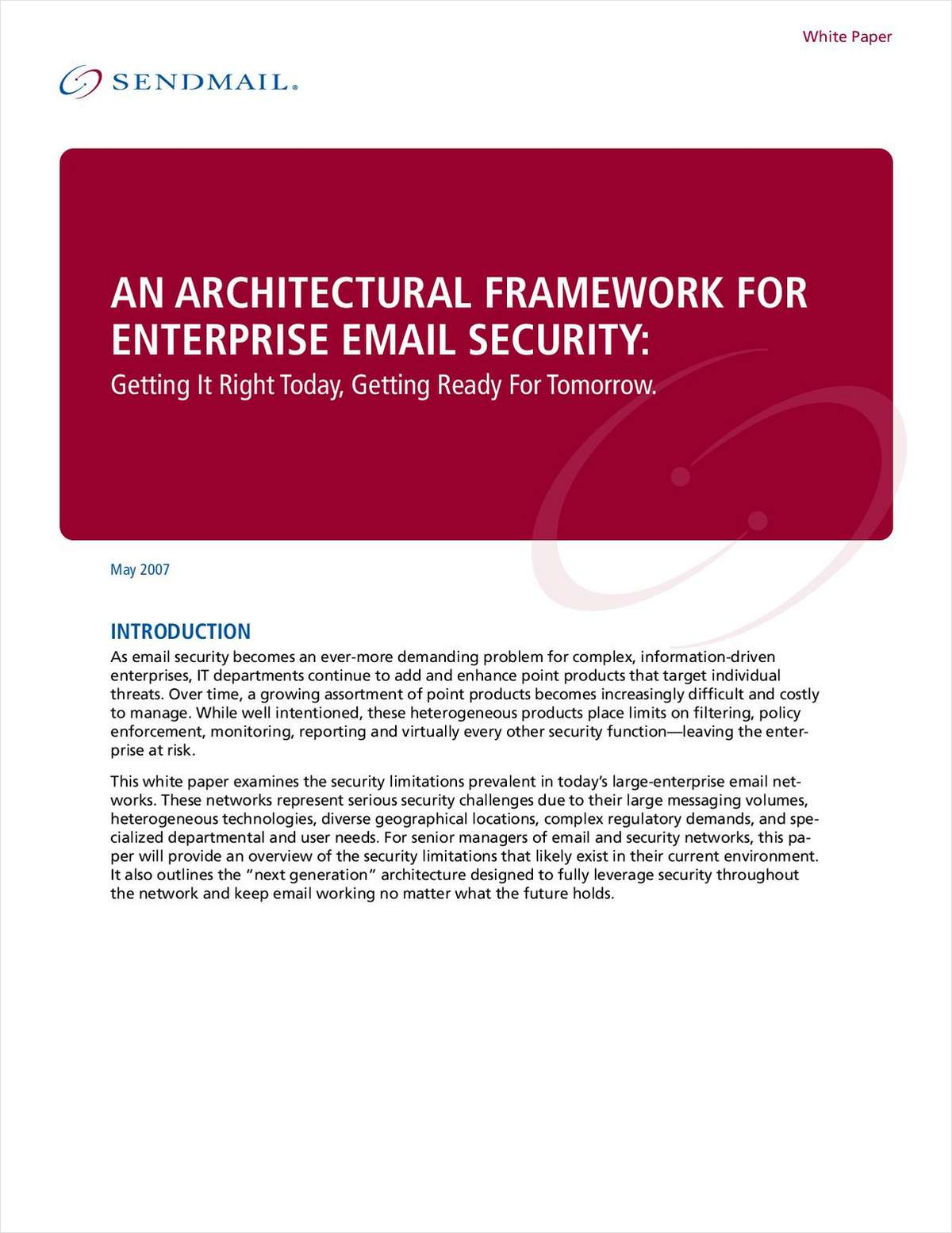 An Architectural Framework for Enterprise Email Security