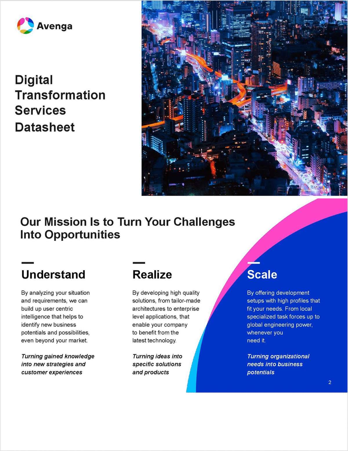 Avenga Digital Transformation Services Datasheet.  Why it matters to have a trusted partner by your side.