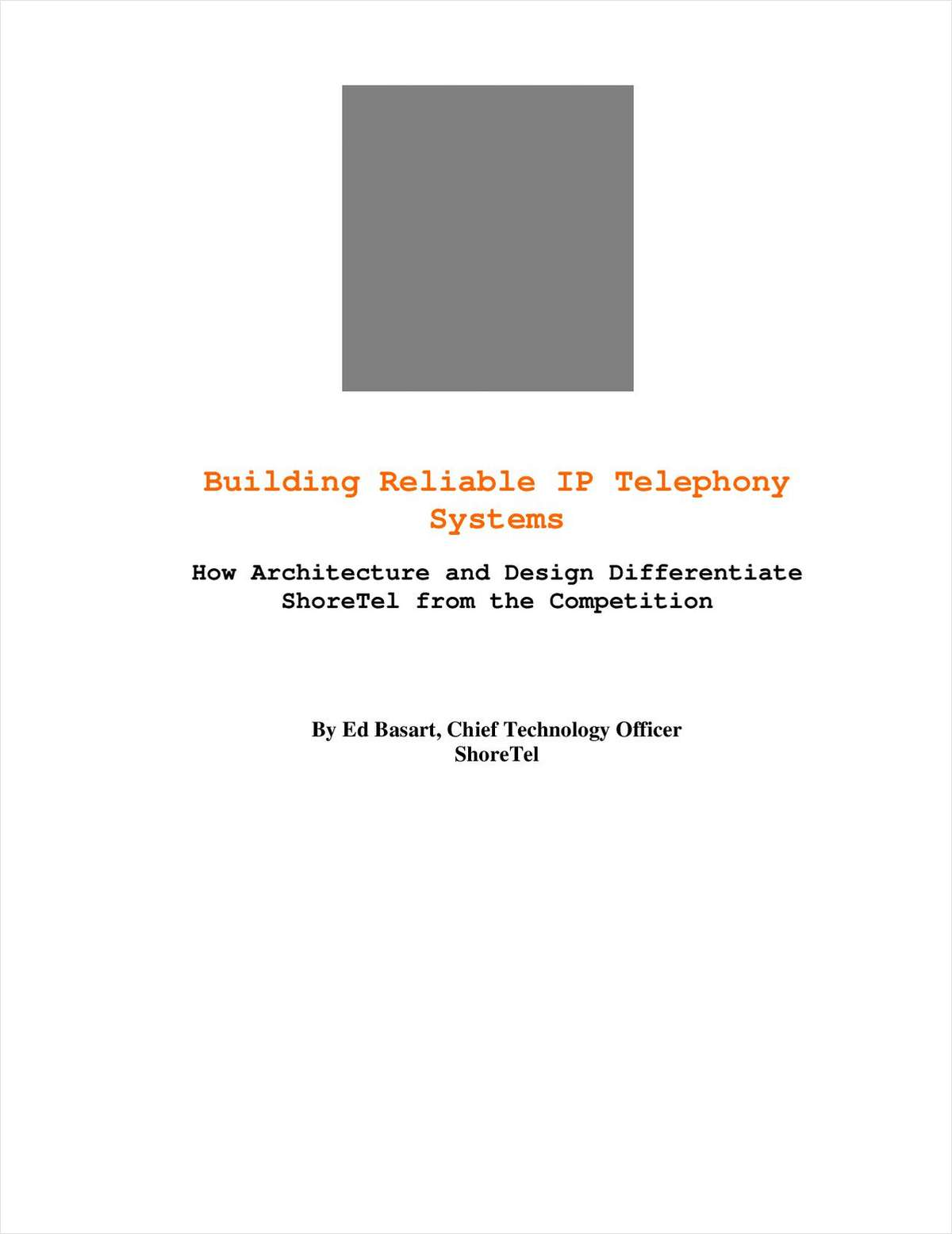 Building Reliable IP Telephony Systems