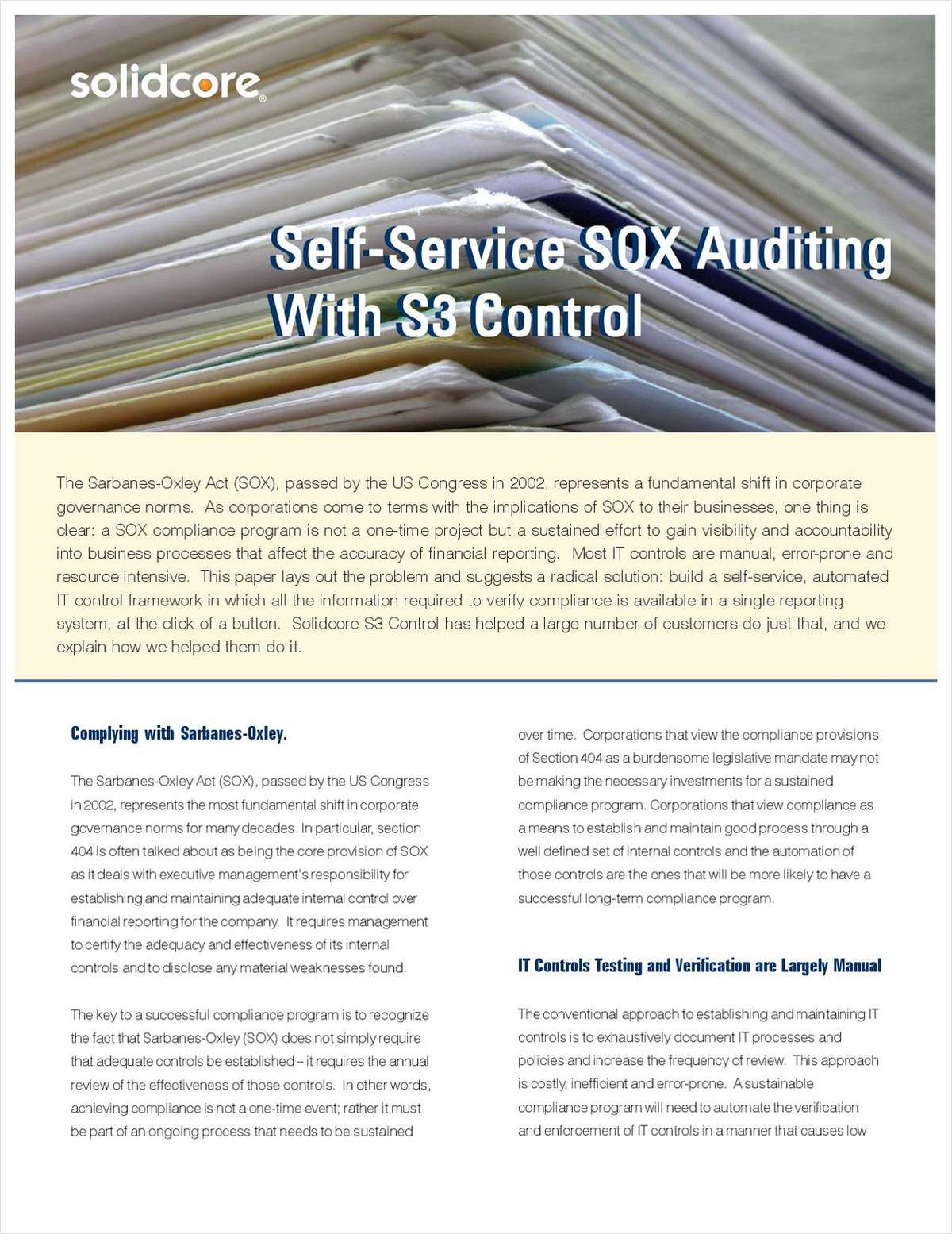 Self-Service SOX Auditing with S3 Control