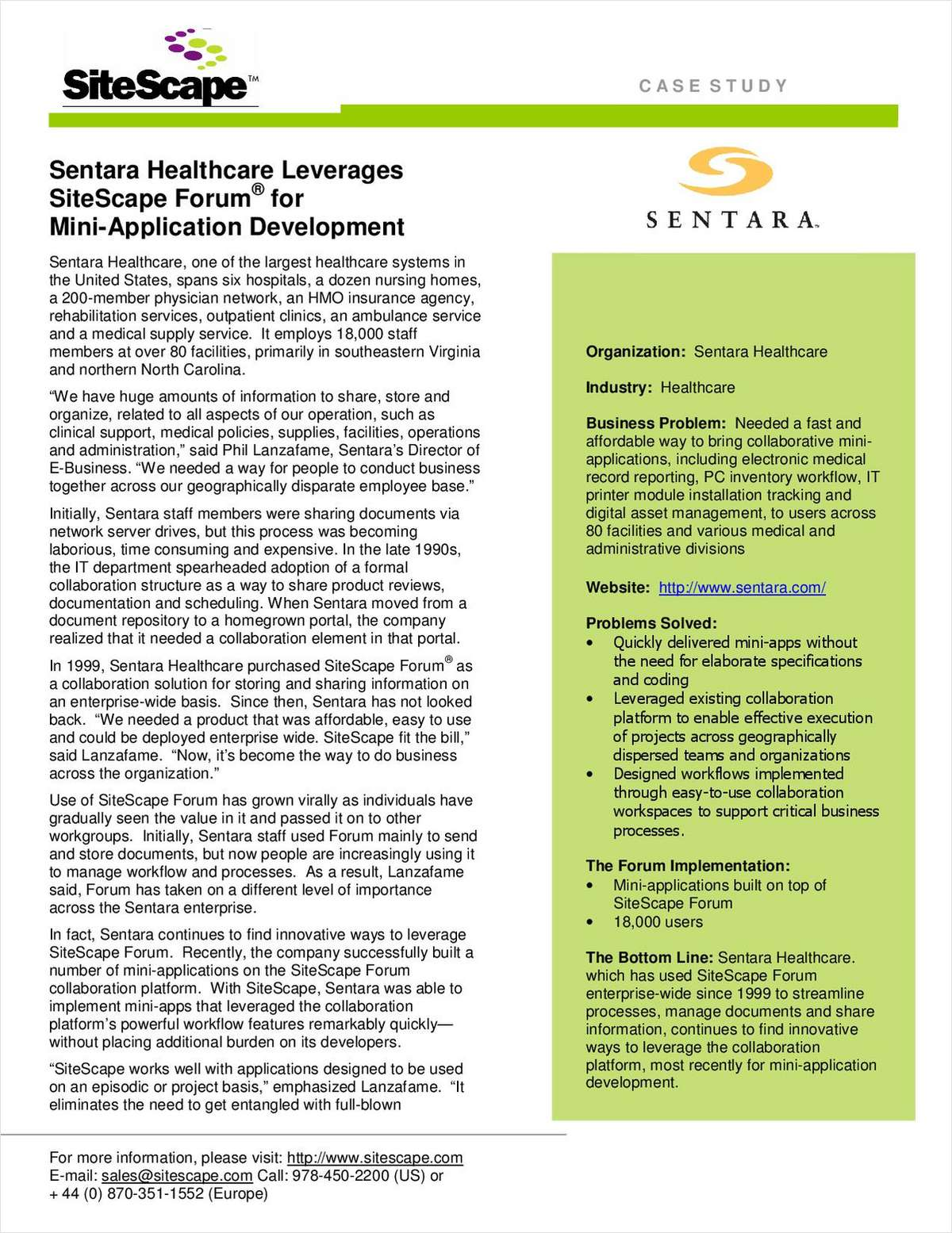 Sentara Healthcare Leverages SiteScape Forum for Mini-Application Development