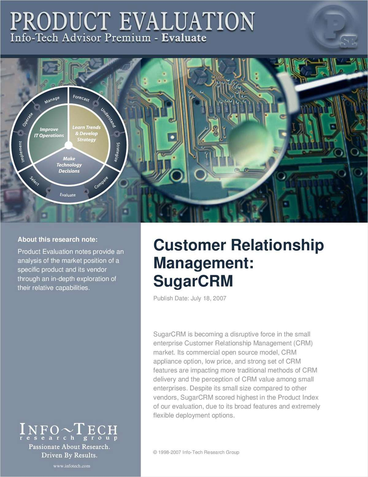 Product Evaluation CRM: SugarCRM by Independent Analyst Firm, Info-Tech Research