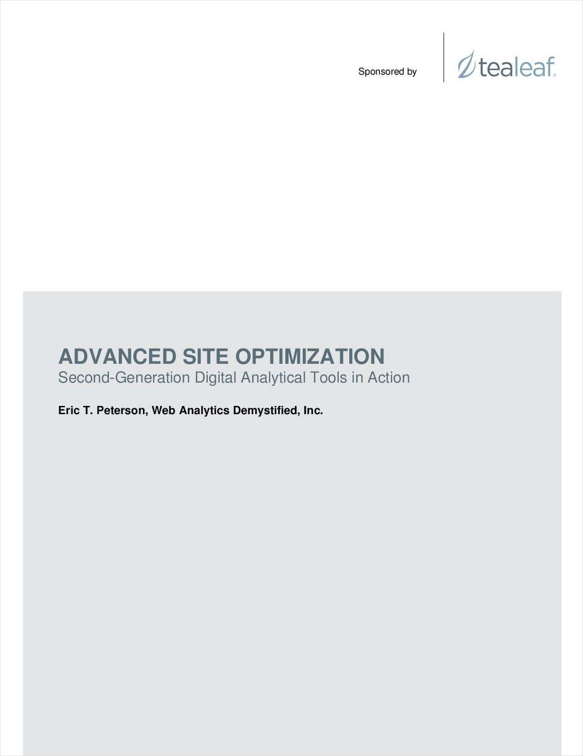 Advanced Site Optimization: Second-Generation Digital Analytical Tools