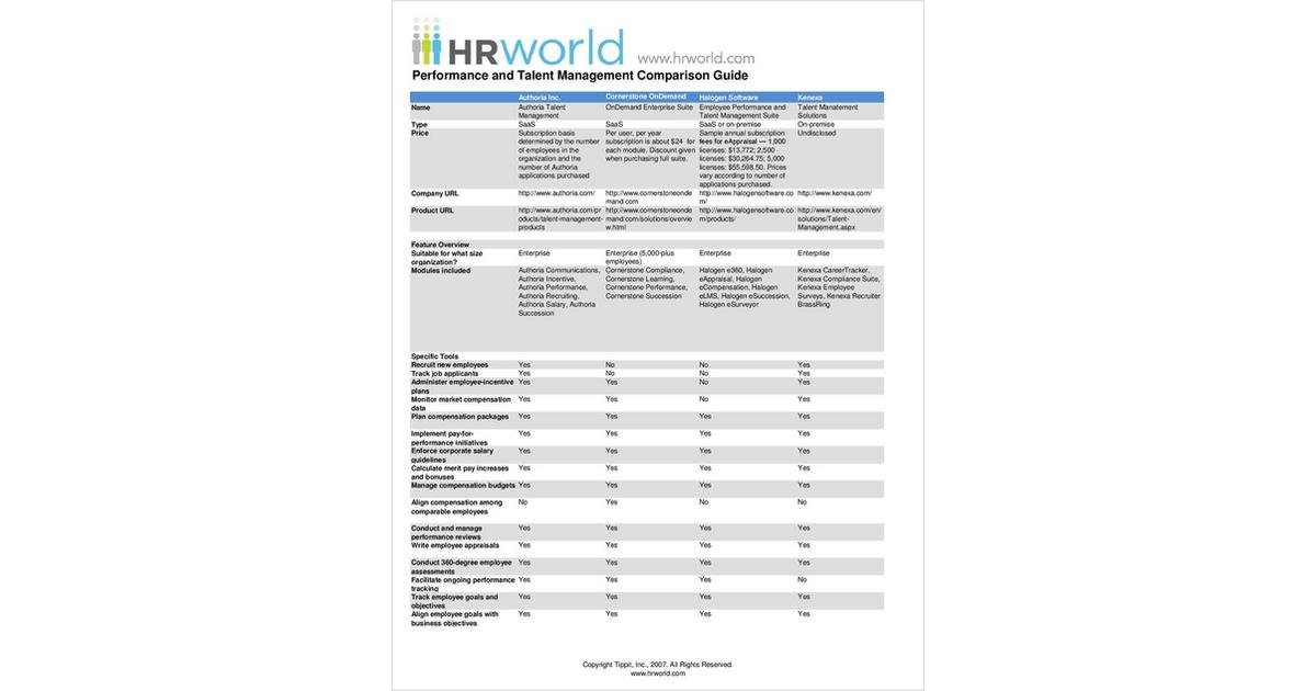 Performance and Talent Management Comparison Guide Free Comparison Guide
