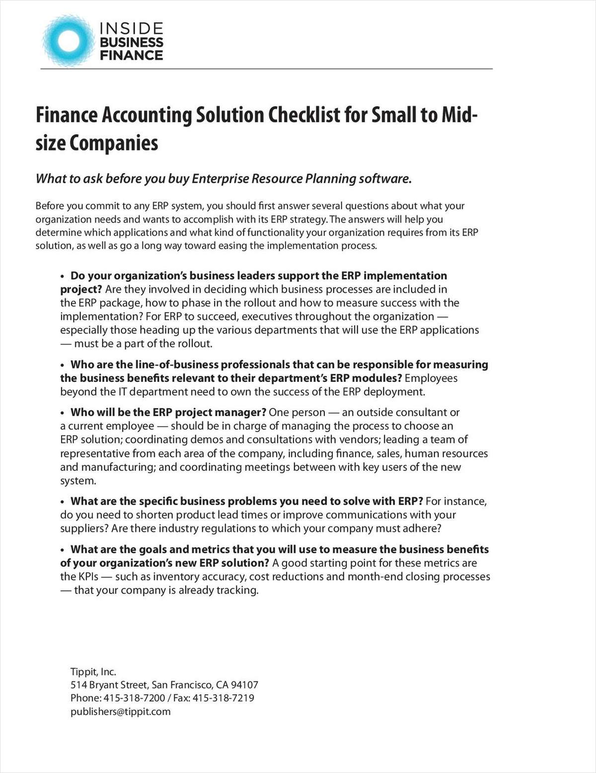 Finance Accounting Solution Checklist for Small to Mid-size Companies