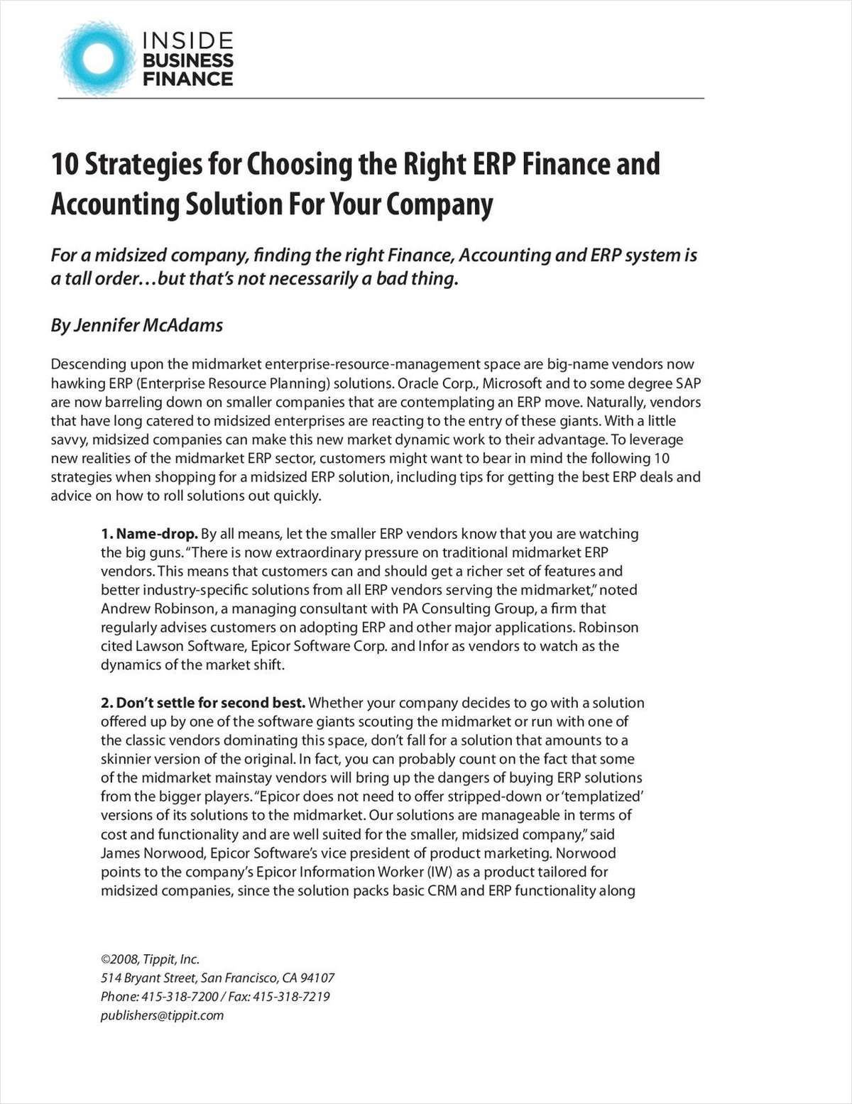 10 Strategies for Choosing the Right ERP Finance and Accounting Solution For Your Company