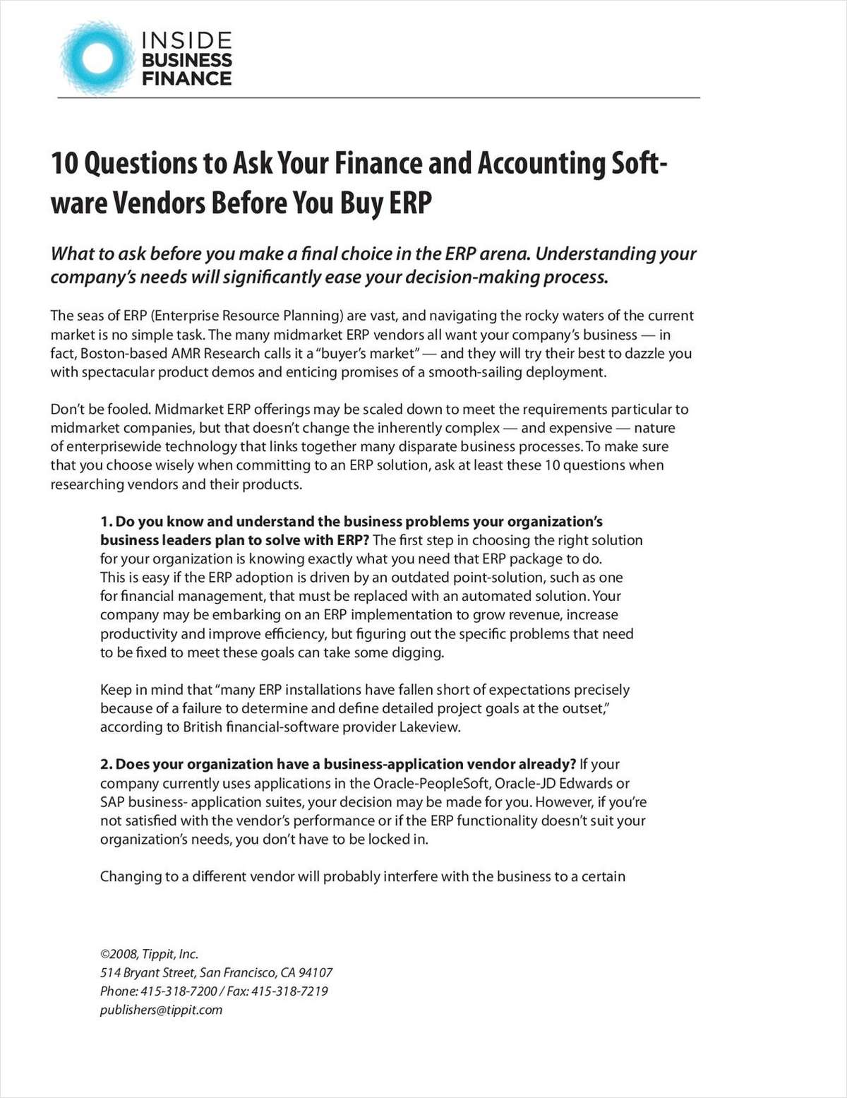 10 Questions to Ask Your Finance and Accounting Software Vendors Before You Buy ERP