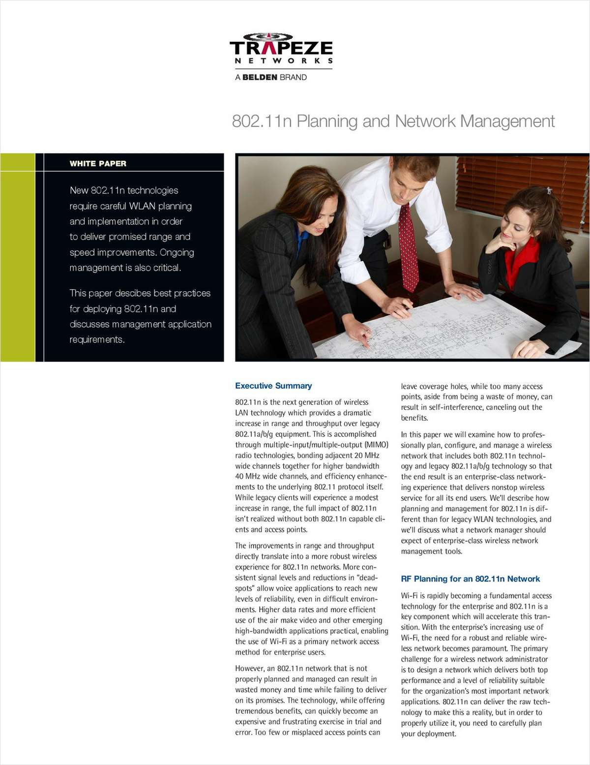 802.11n Planning and Network Management