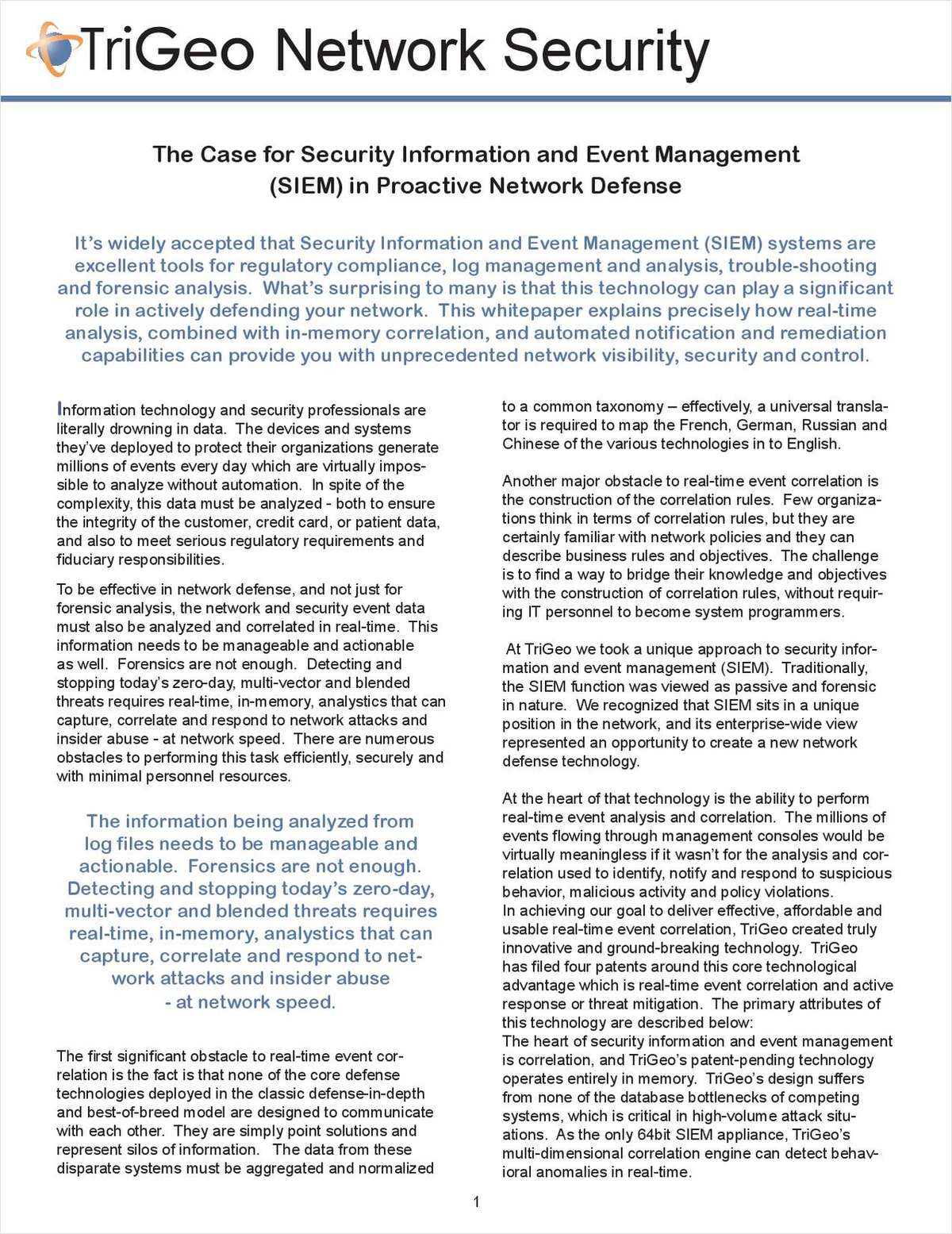 The Case for Security Information and Event Management (SIEM) in Proactive Network Defense
