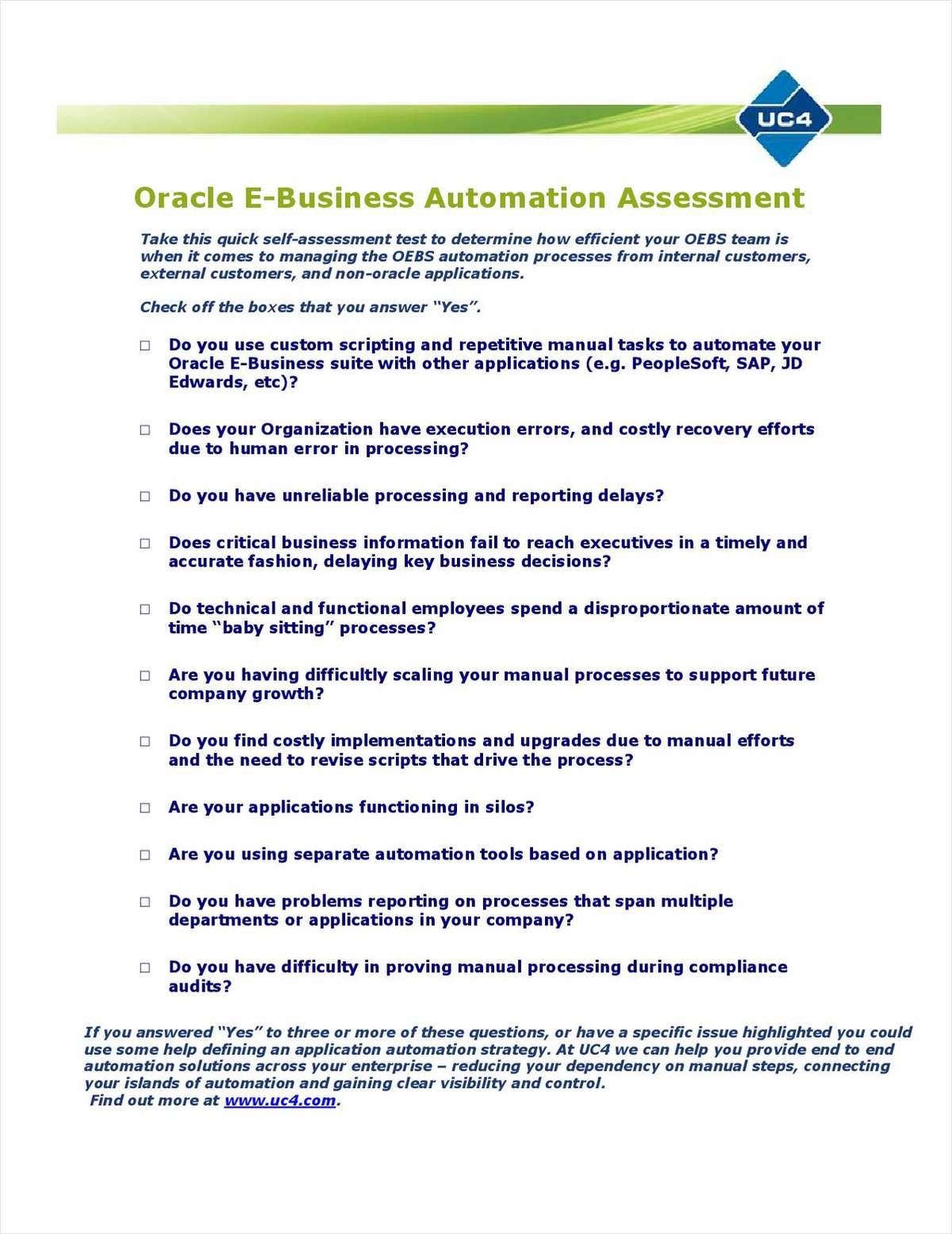 Oracle E-Business Suite Automation Kit Free eKit