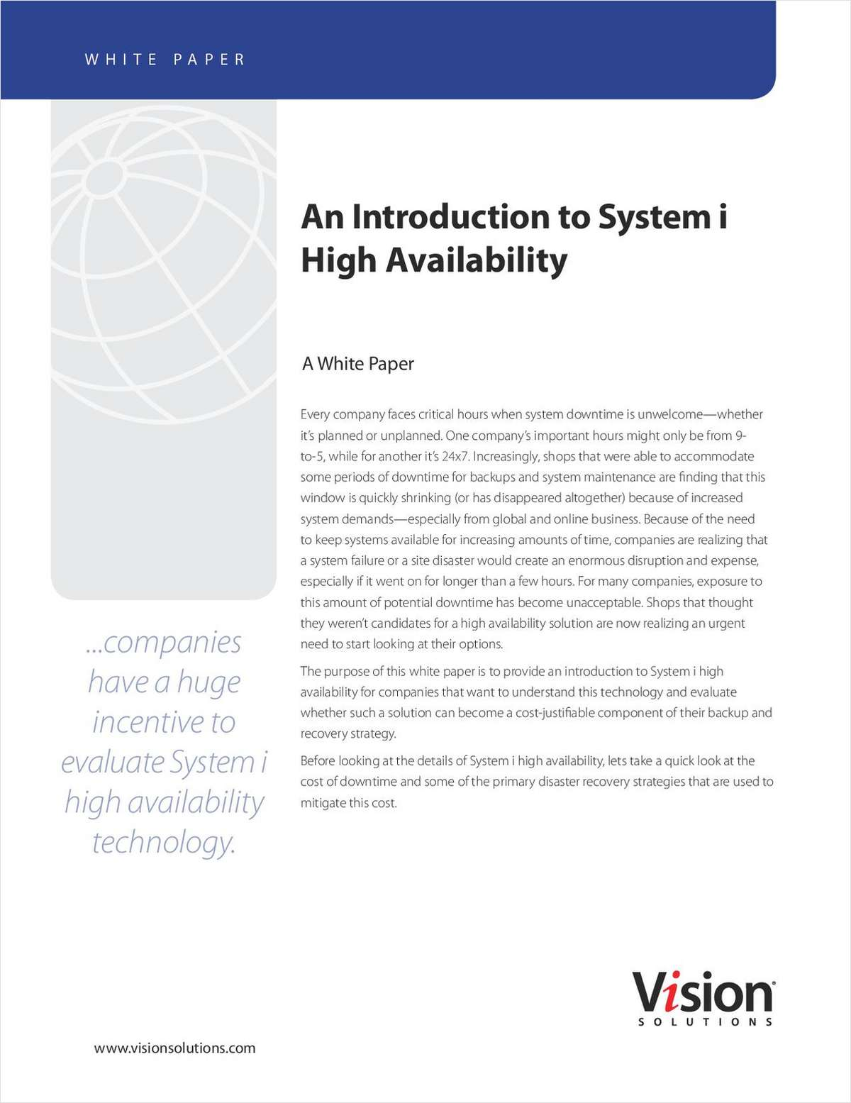 High Availability on IBM System i (AS/400) - An Introduction