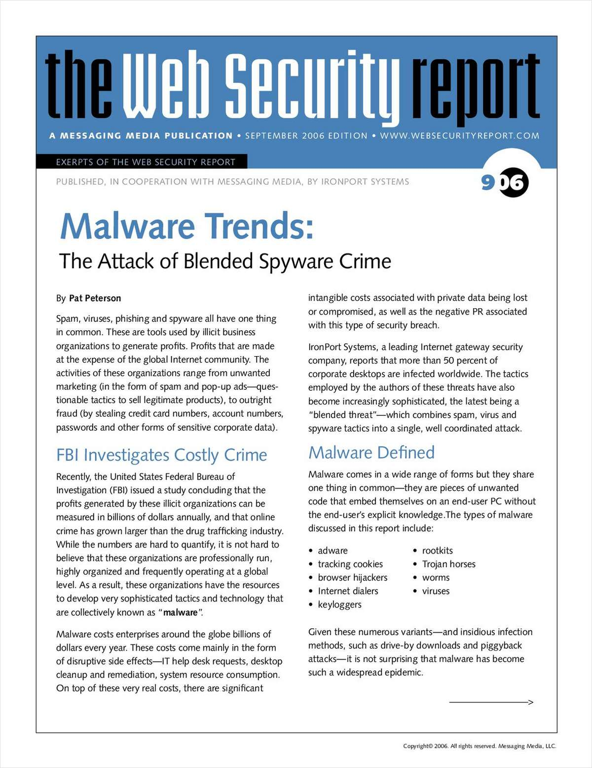 Web Security Report: The Attack of Blended Spyware Crime