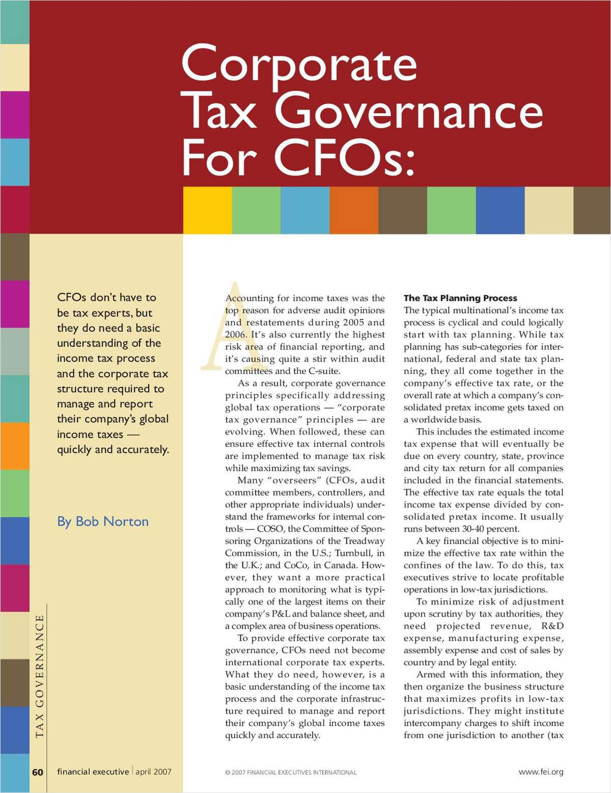 Corporate Tax Governance For CFOs