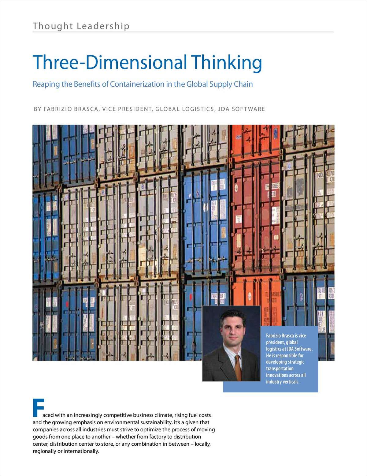 Three Dimensional Thinking: Reaping the Benefits of Containerization in the Global Supply Chain