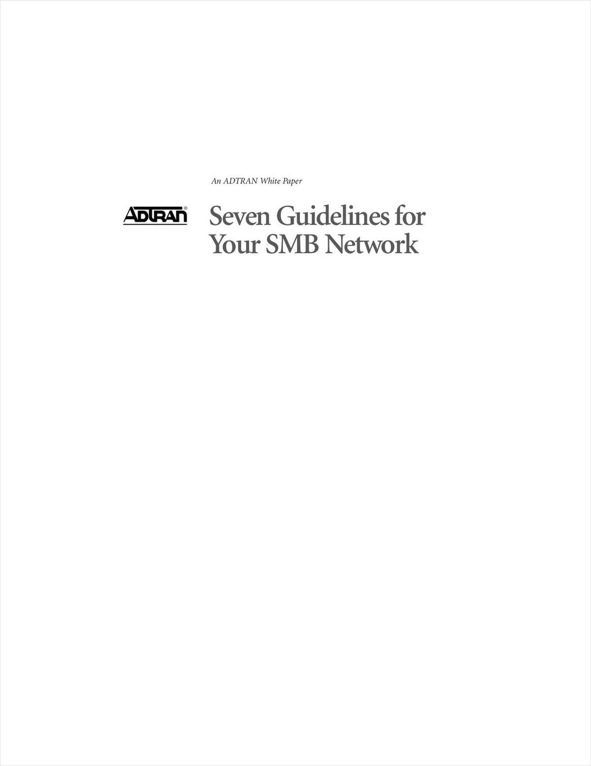 Seven Guidelines for Your SMB Network