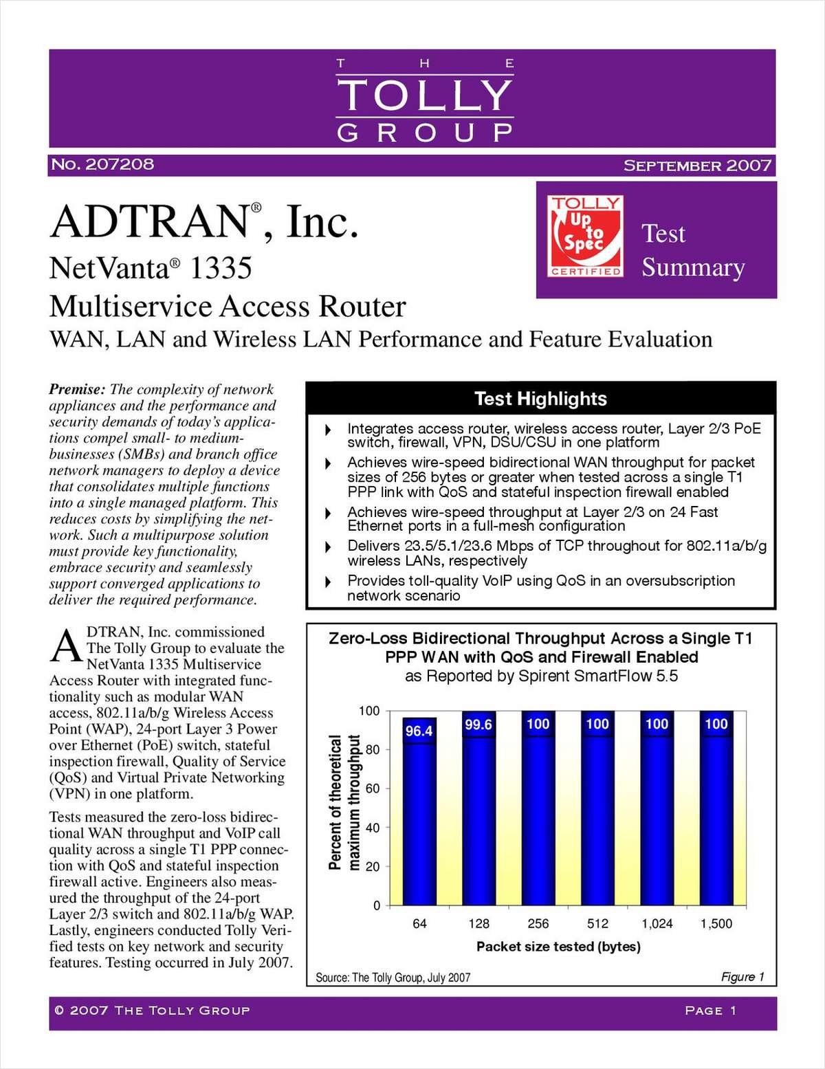 WAN, LAN & Wireless LAN Performance & Feature Evaluation by the Tolly Group