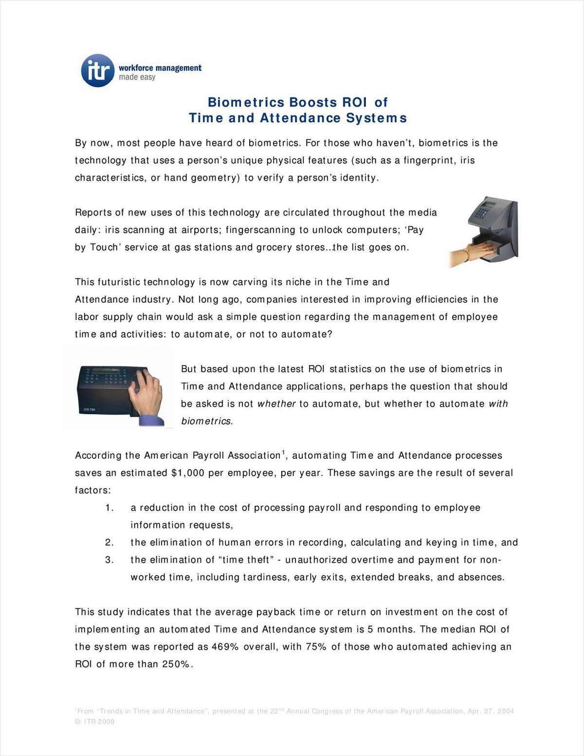 Biometrics Boosts ROI of Time and Attendance Systems