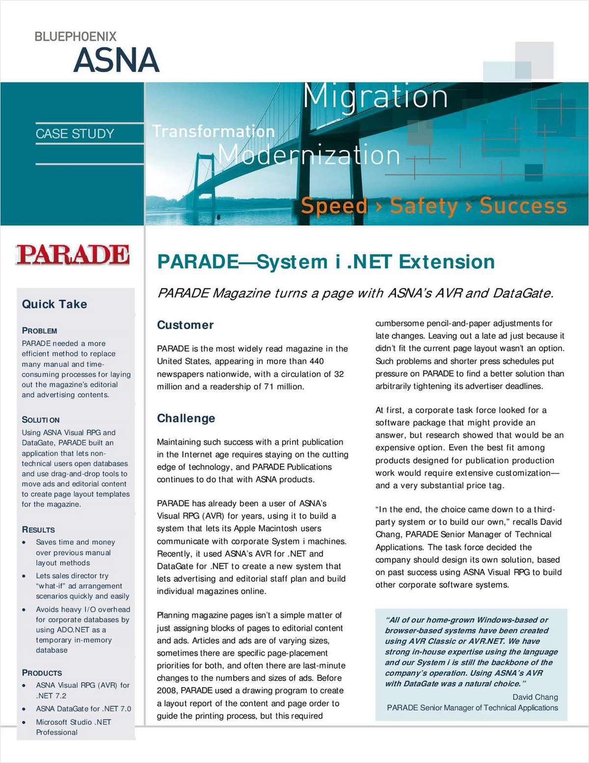 Case Study: Parade Magazine - System i .NET Extension