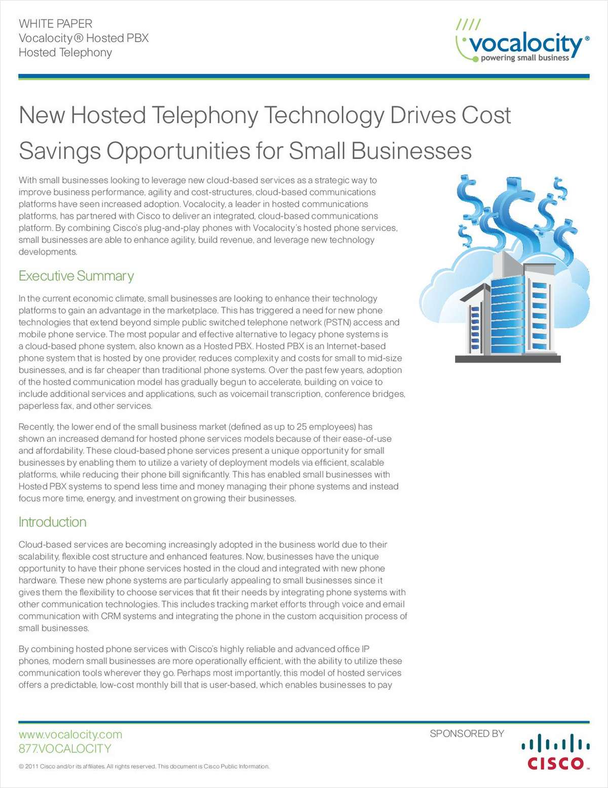 Cisco and Vocalocity Deliver Cost Savings Opportunities for Small Businesses