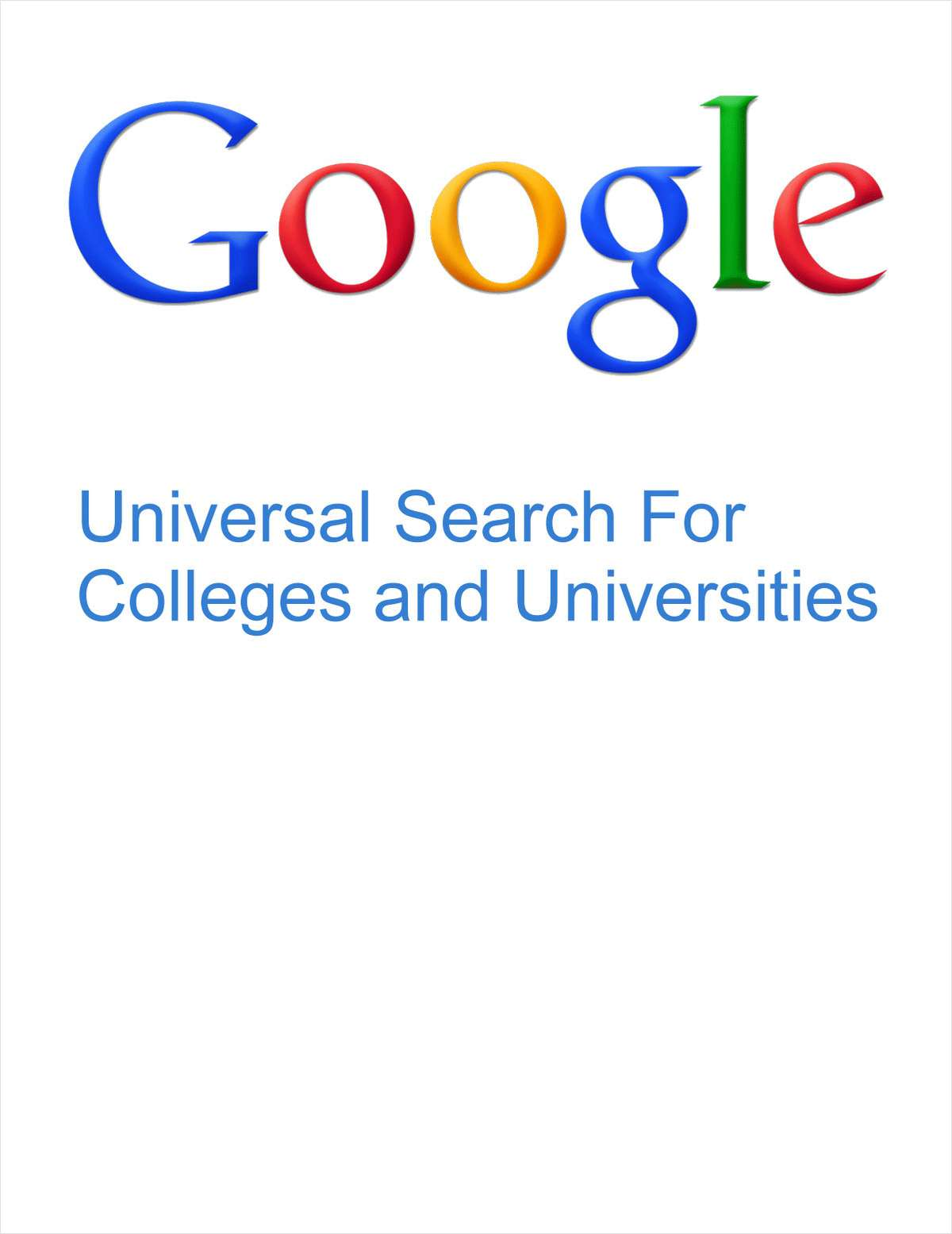 Google's Universal Search for Universities