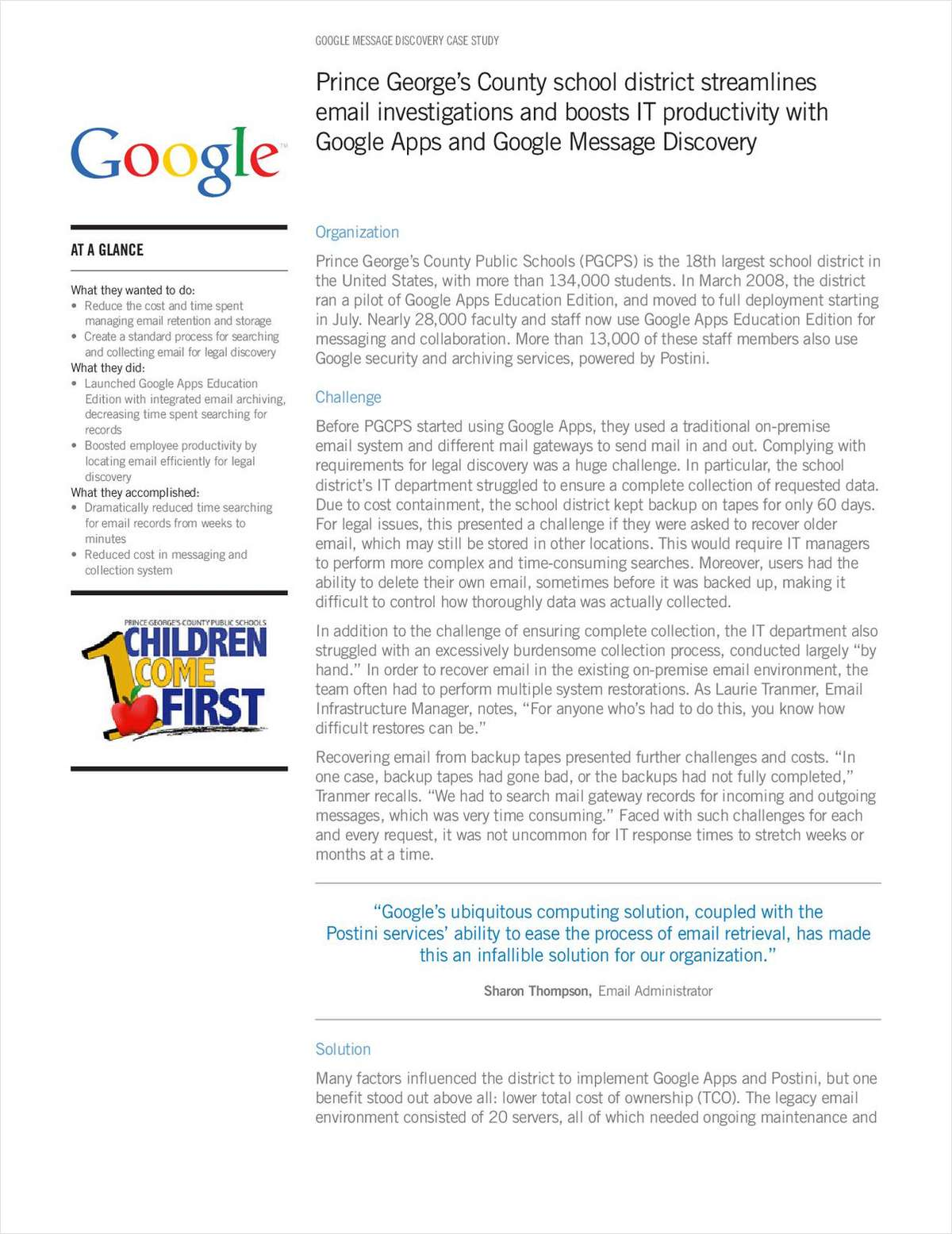 Prince George's County Public Schools Goes Google with Apps and Message Discovery