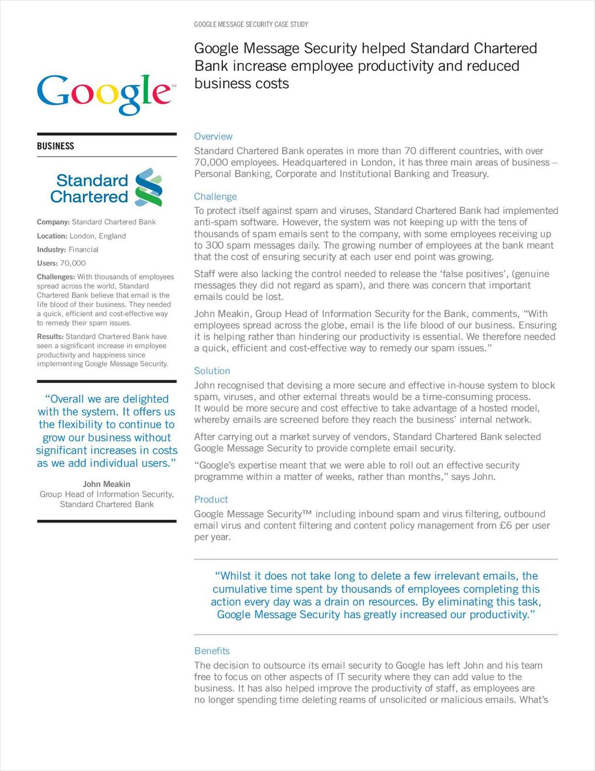 Global Financial Services Company Protects Their Email Infrastructure with Google Message Security