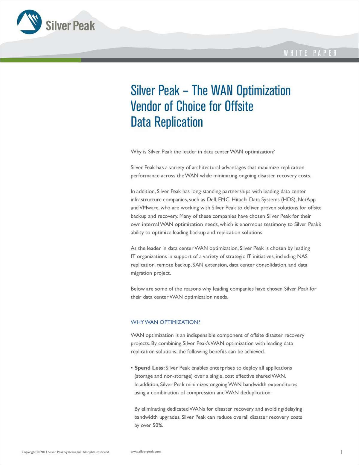 Silver Peak's Advantages in a Disaster Recovery Environment