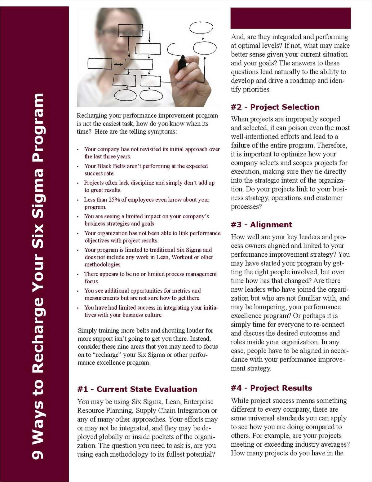 9 Ways to Recharge Your Six Sigma Program