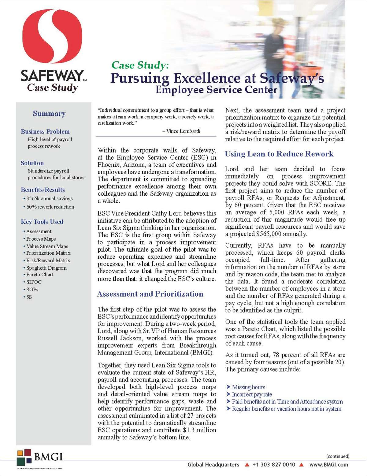 Case Study: Pursuing Excellence at Safeway's Employee Service Center
