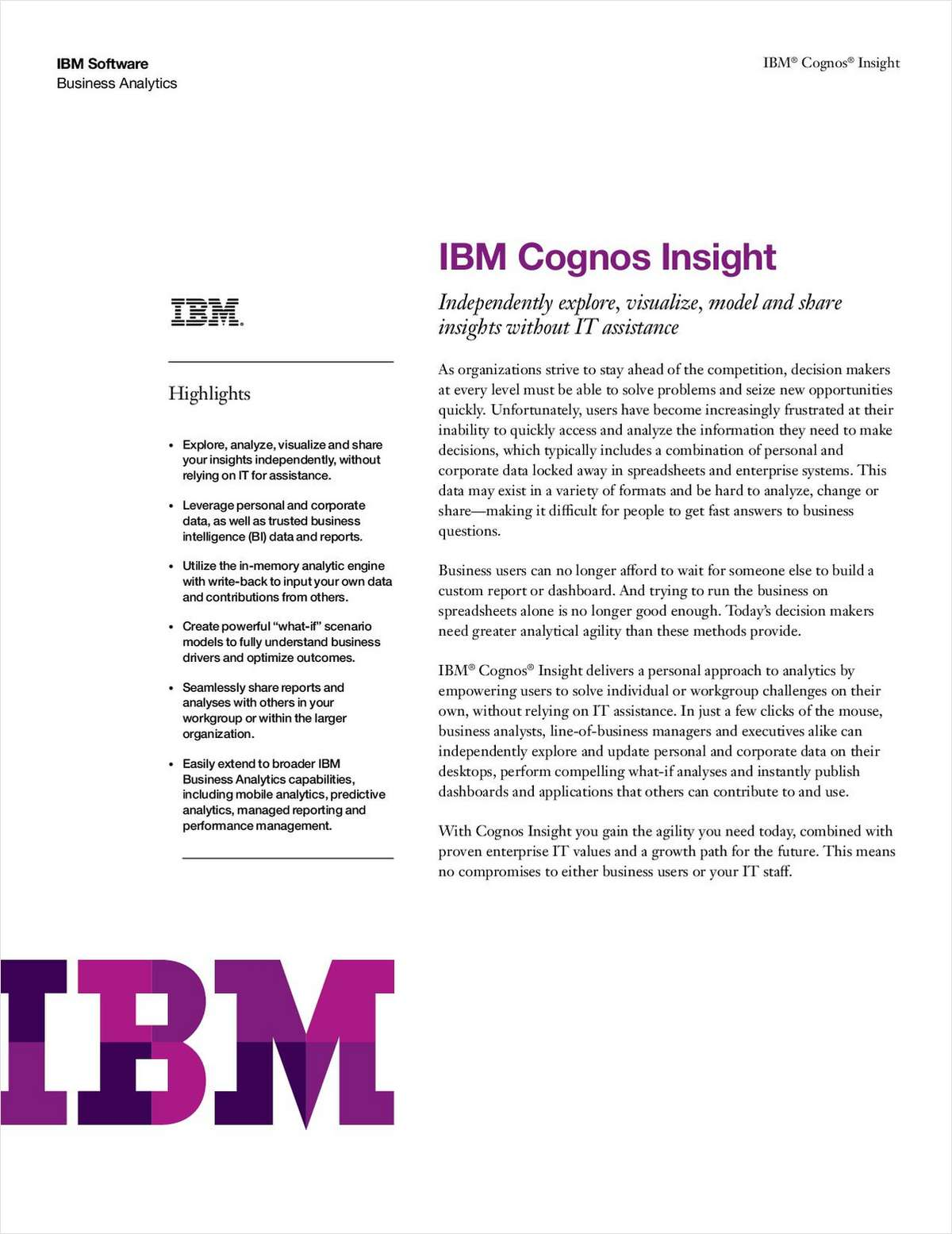 IBM® Cognos® Insight
