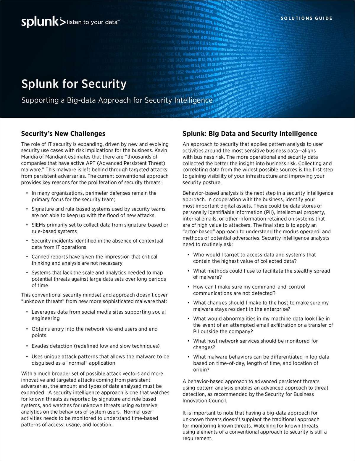 Supporting a Big-Data Approach for Security Intelligence