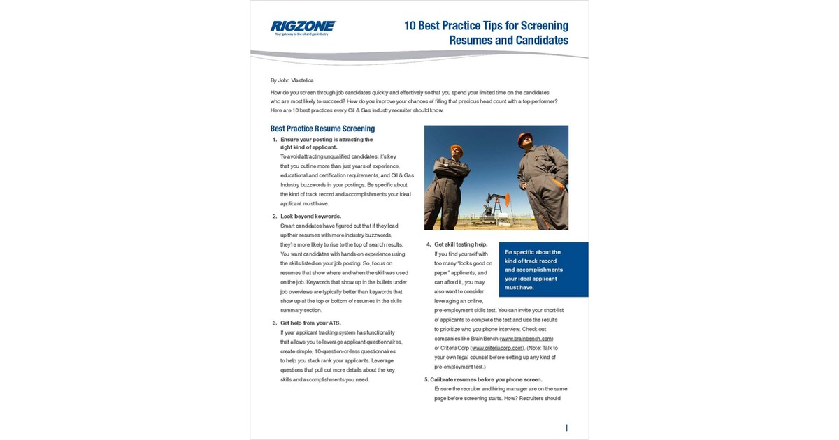 10 Best Practice Tips For Screening Resumes And Candidates Free