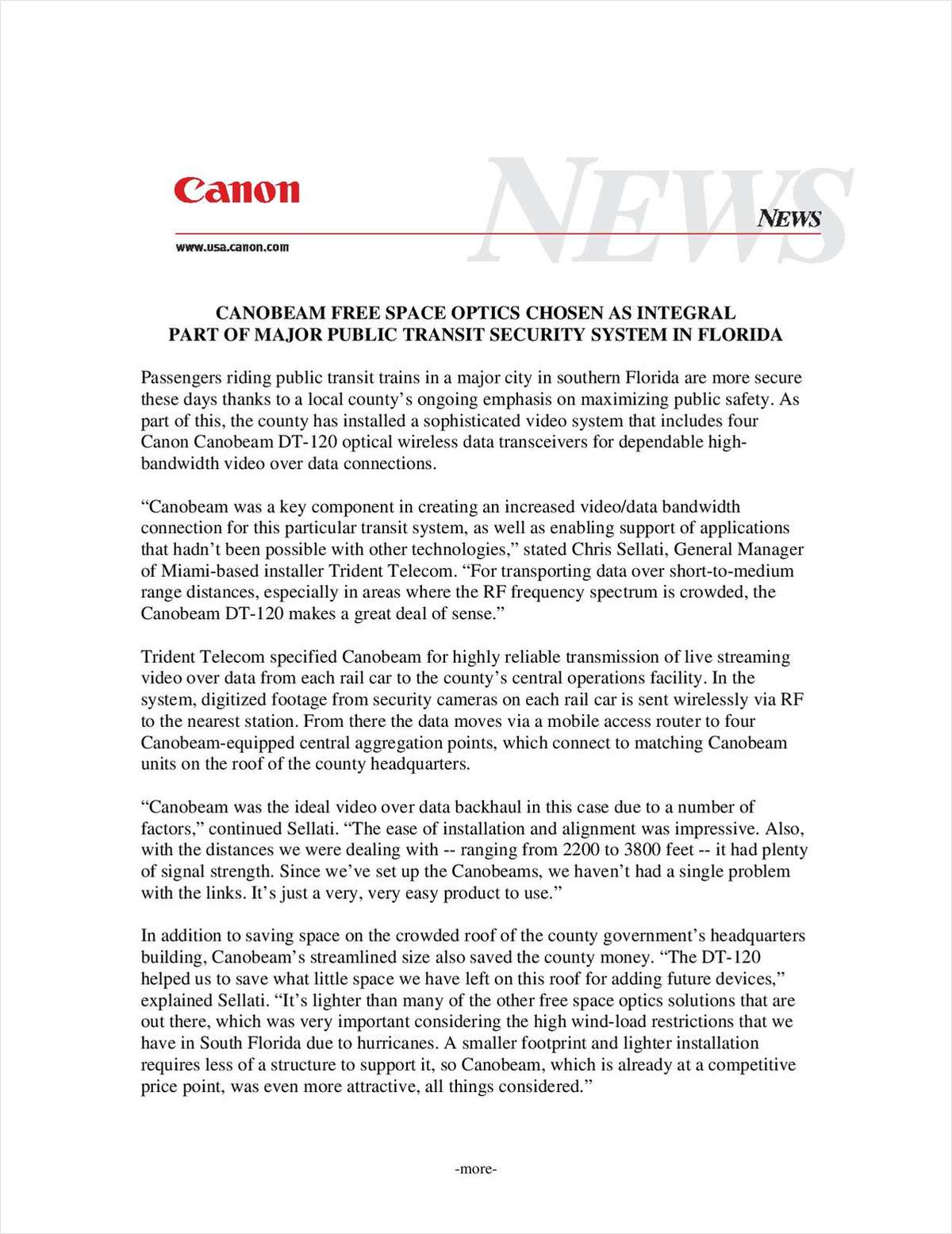 Free Space Optics from Canon Provides Reliable Solution for Trident Telecom