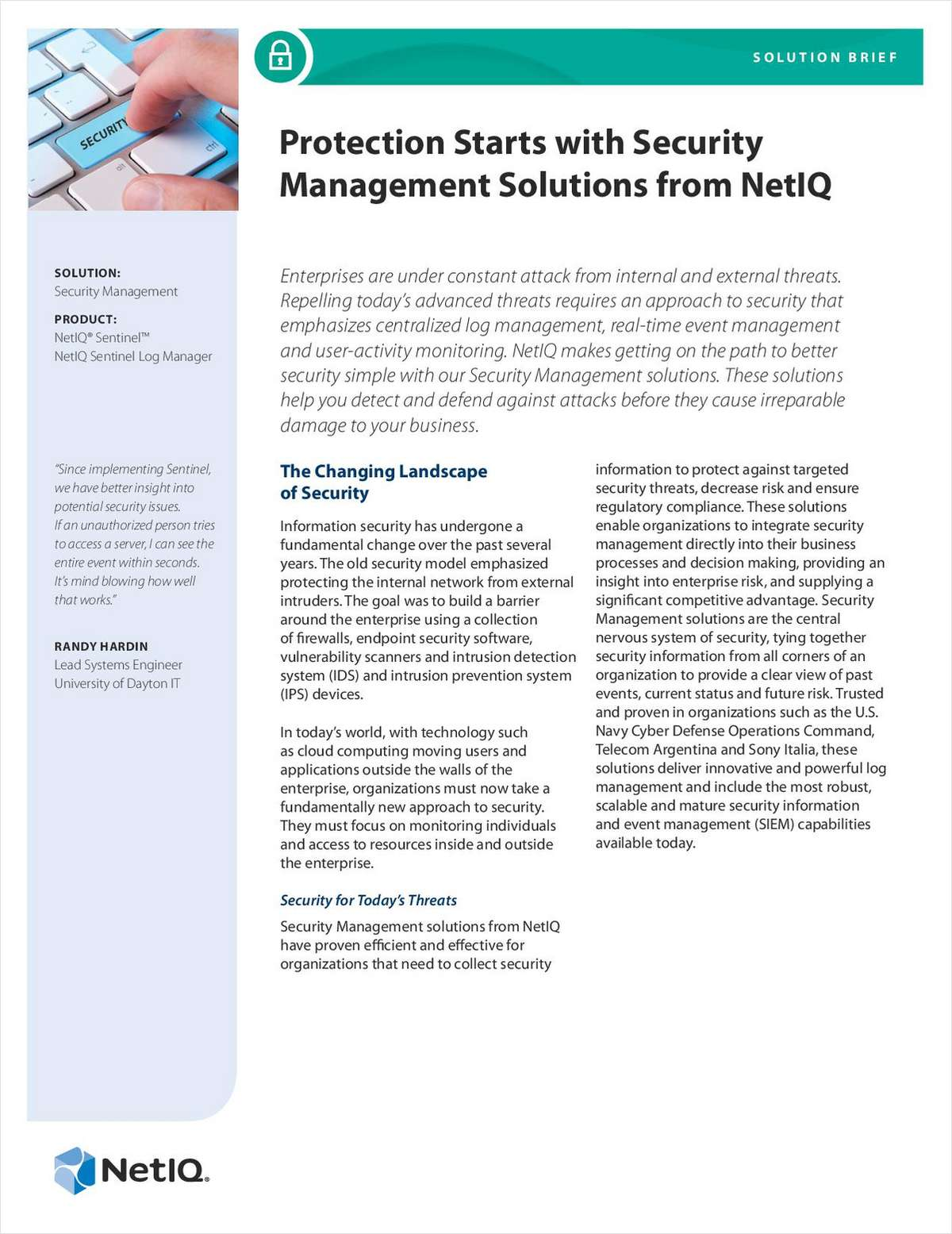 Protection Starts with Security Management Solutions from NetIQ