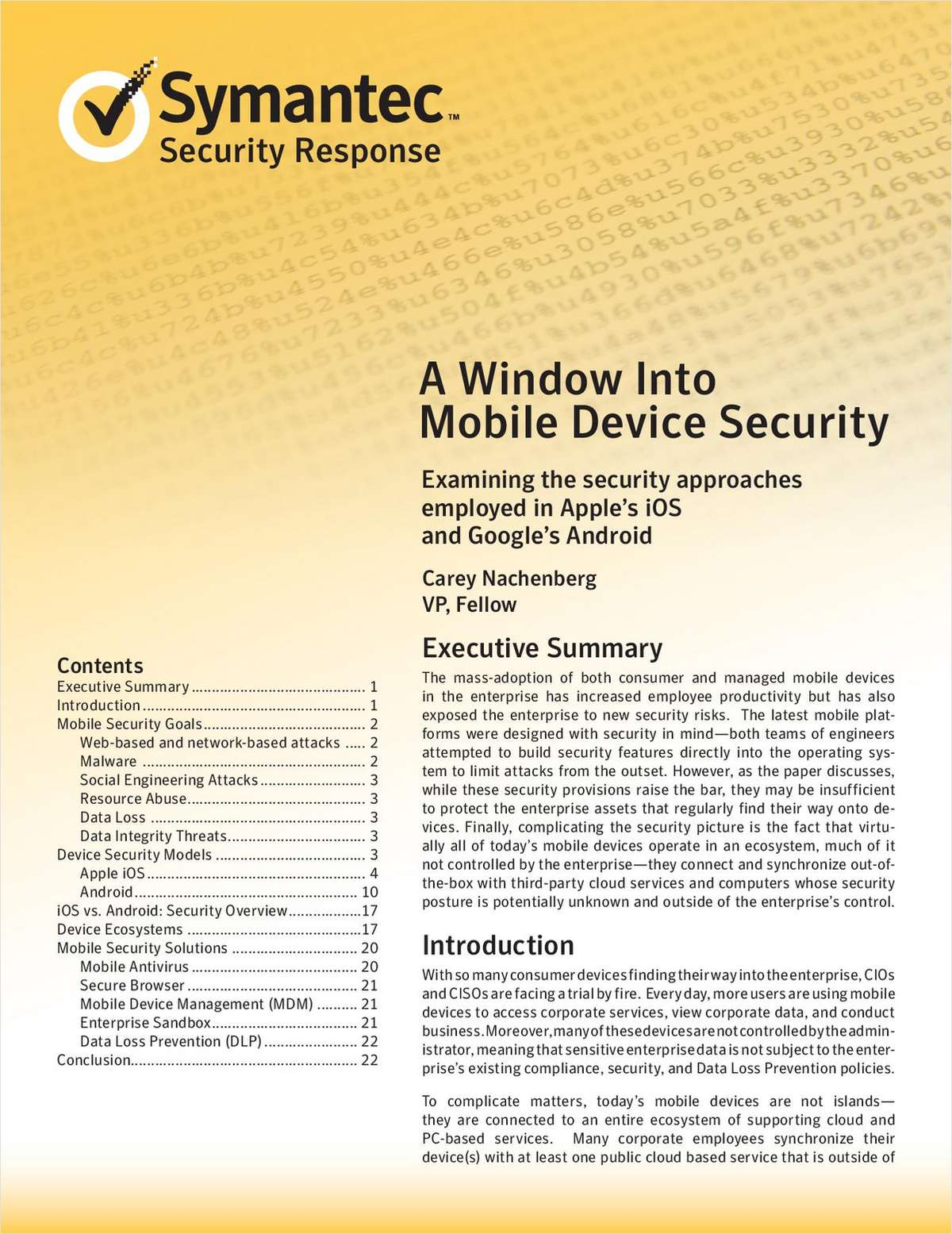 A Window into Mobile Device Security