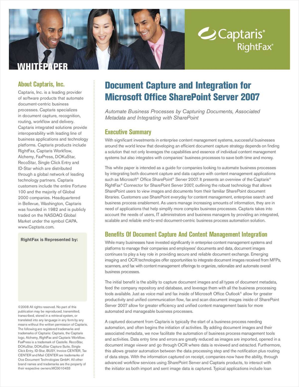 Document Capture and Integration for Microsoft Office SharePoint Server 2007