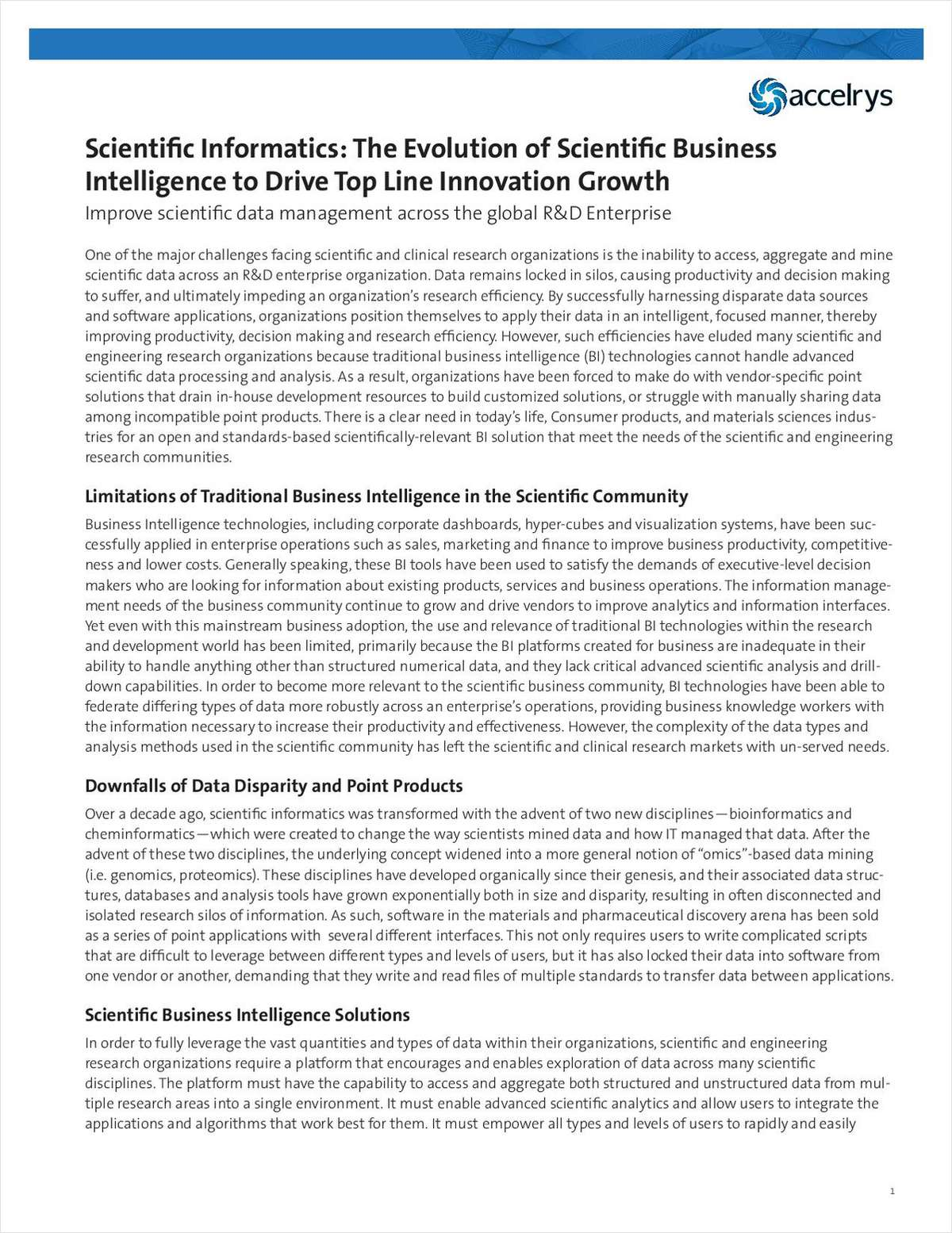 How Scientific Business Intelligence Can Drive Top Line Innovation Growth