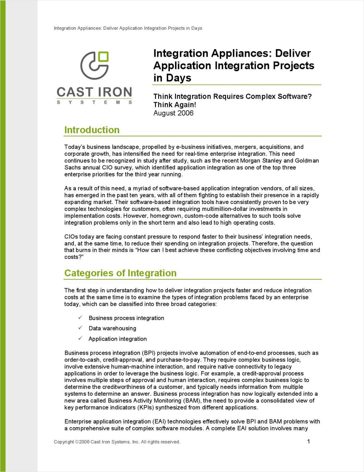 Integration Appliances: Deliver Application Integration Projects in Days