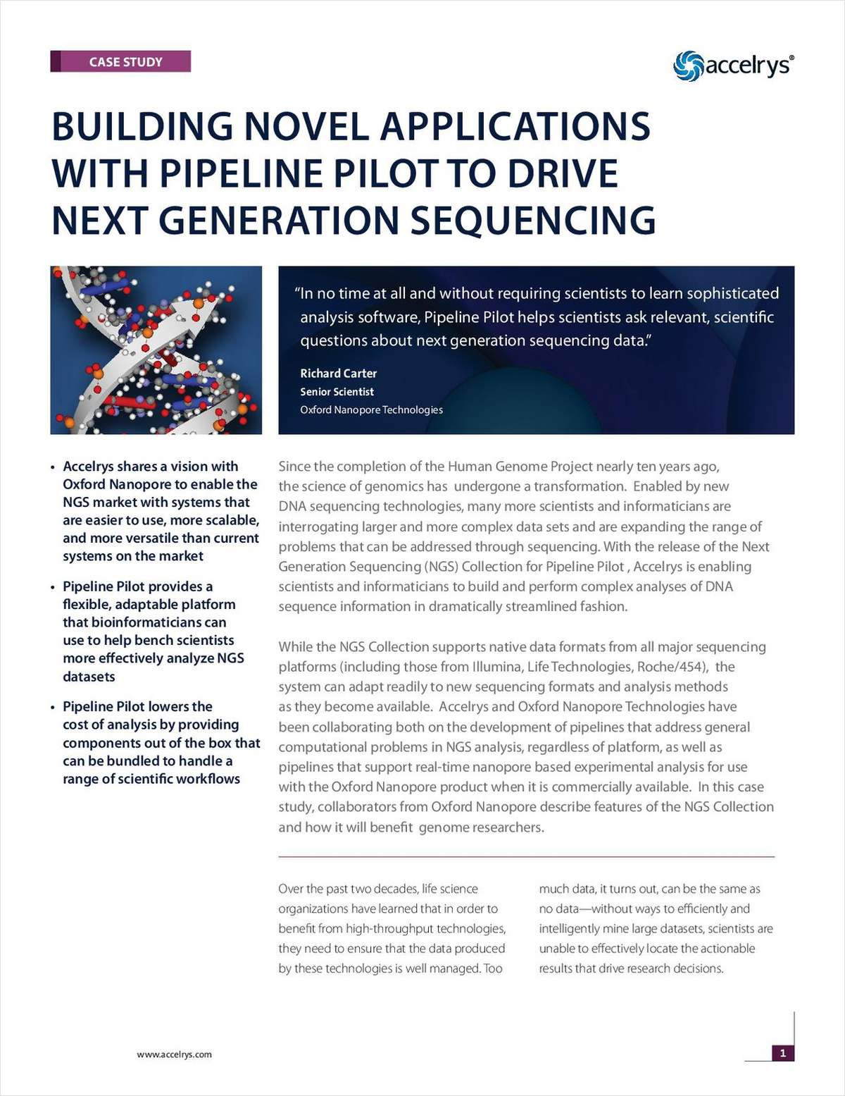 Building Novel Applications with Pipeline Pilot to Drive Next Generation Sequencing