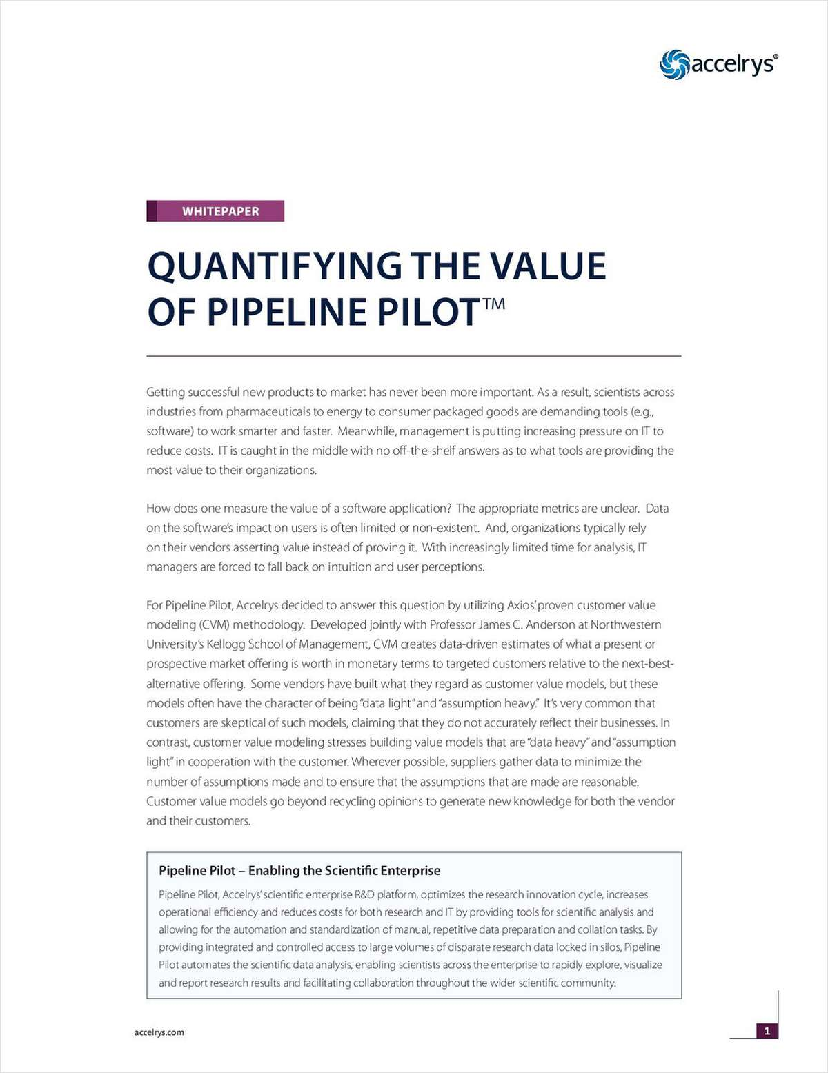 Quantifying the Value of Pipeline Pilot, the Accelrys Scientific Enterprise Platform
