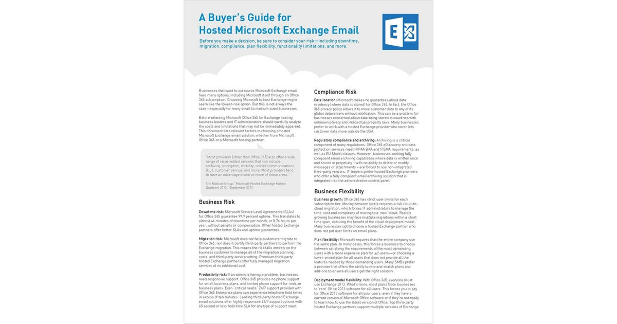 A Buyer's Guide for Hosted Exchange Email, Free Intermedia Buyer's Guide