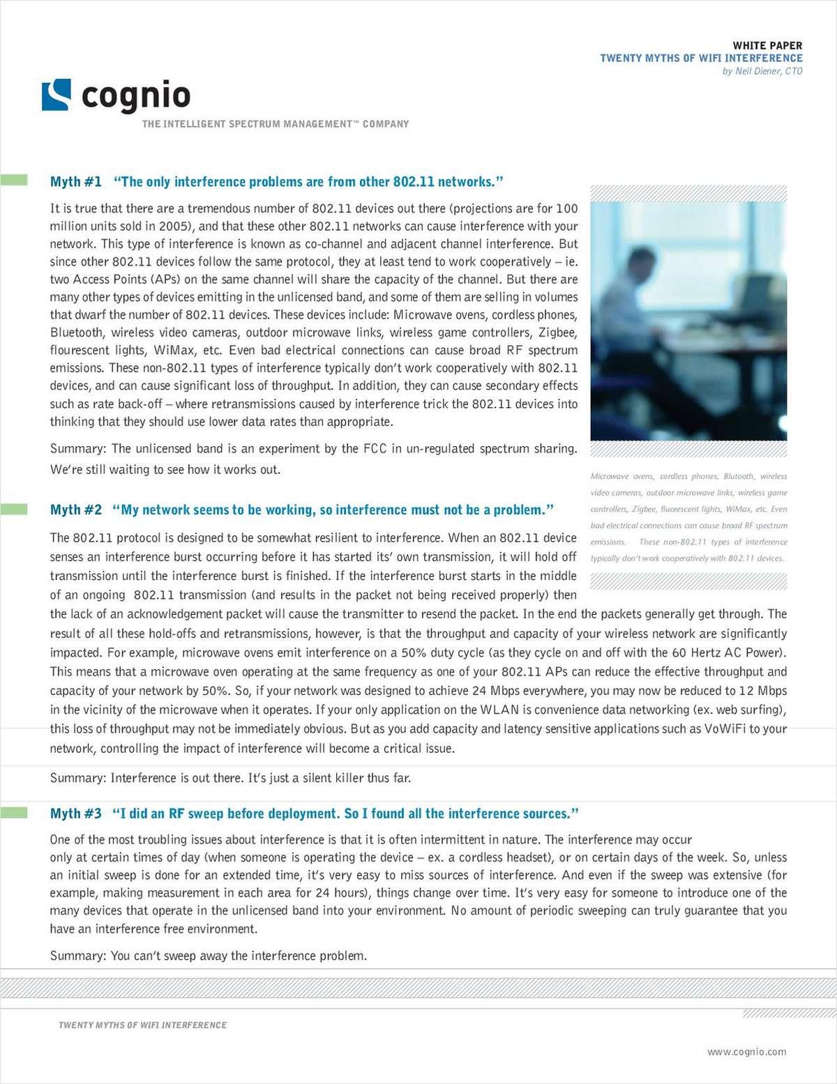 Twenty Myths of WiFi Interference