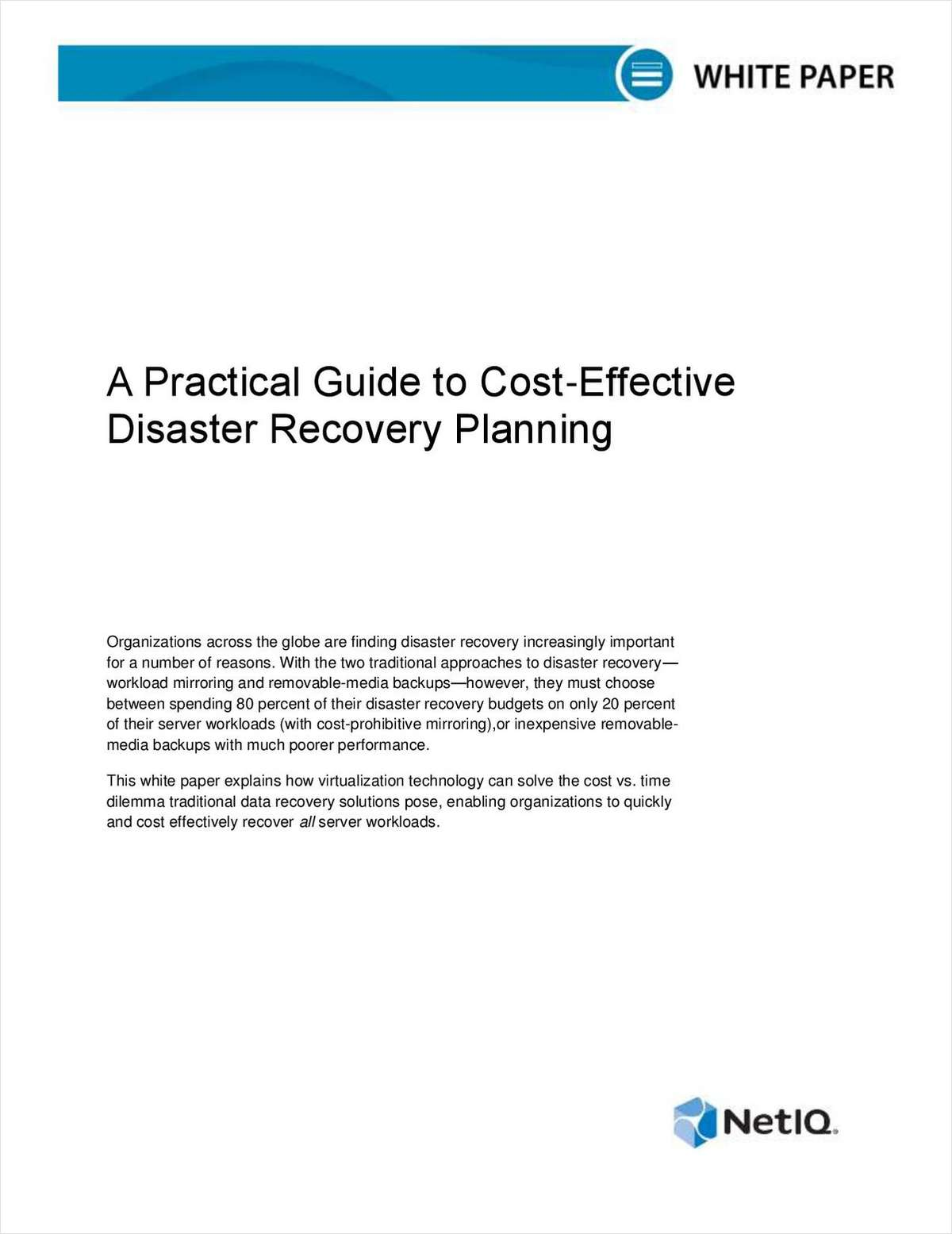 Practical Guide to Cost-Effective Disaster Recovery Planning