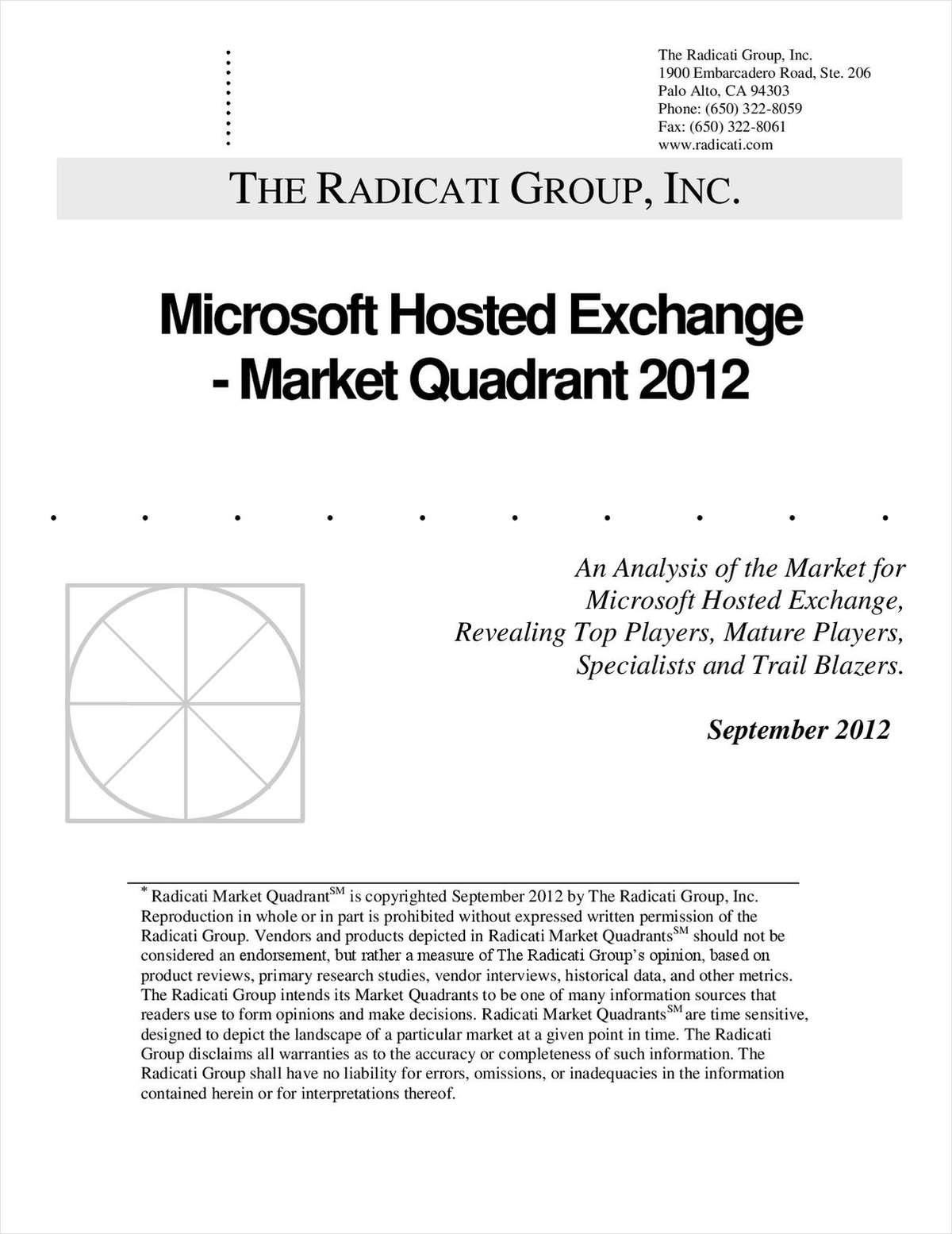 Microsoft Hosted Exchange Market Quadrant