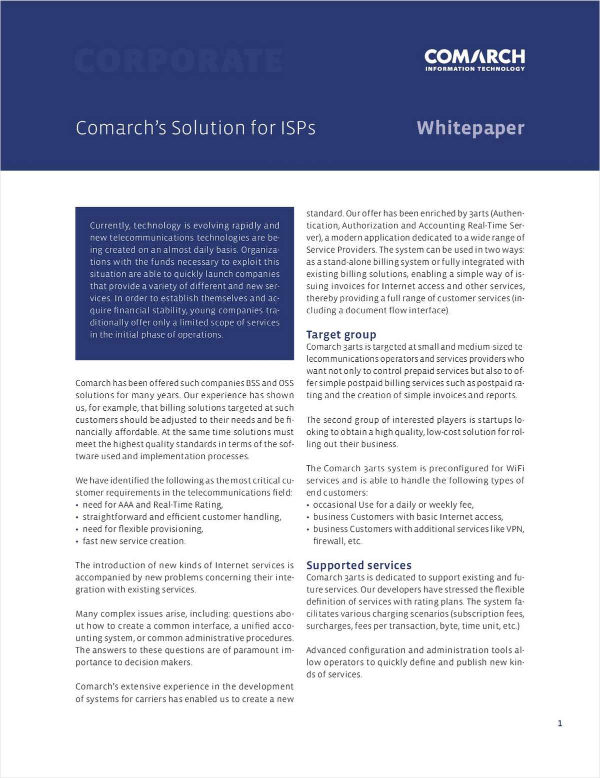 Comarch's Solution for ISPs