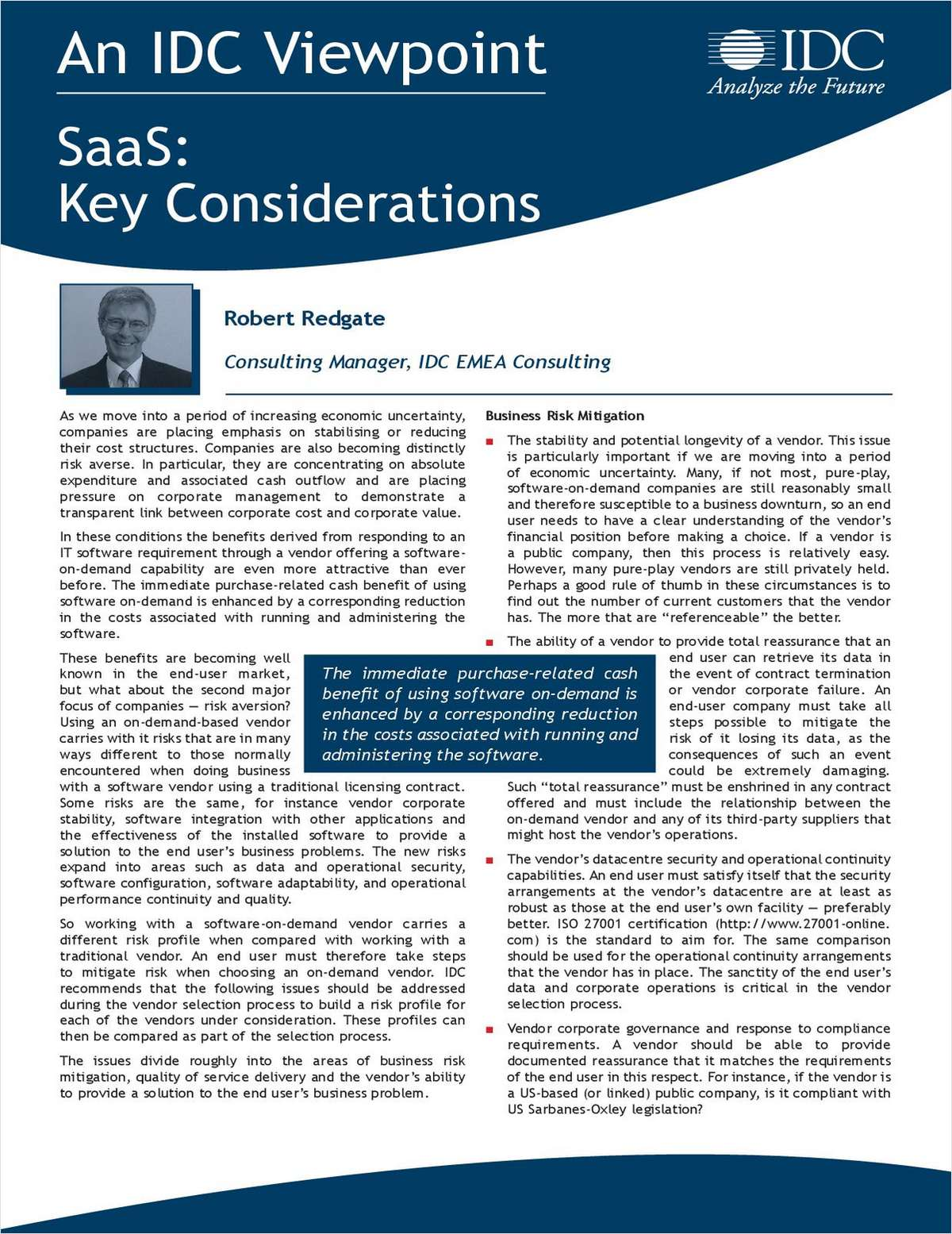 IDC Viewpoint - SaaS: Key Considerations